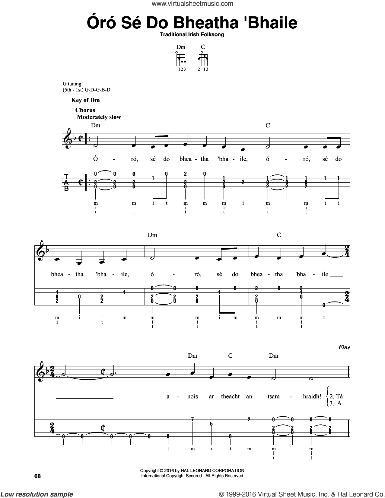 Oro Se Do Bheatha Bhaile sheet music for banjo solo. Score Image Preview.