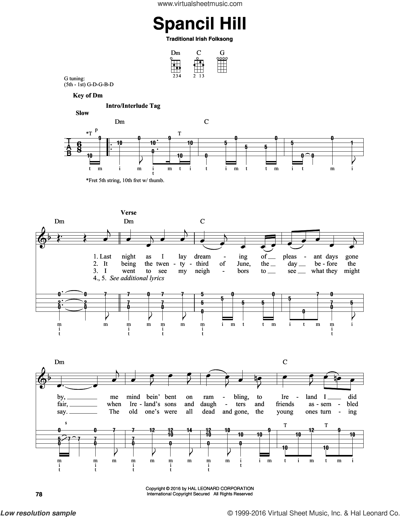 Spancil Hill sheet music for banjo solo. Score Image Preview.