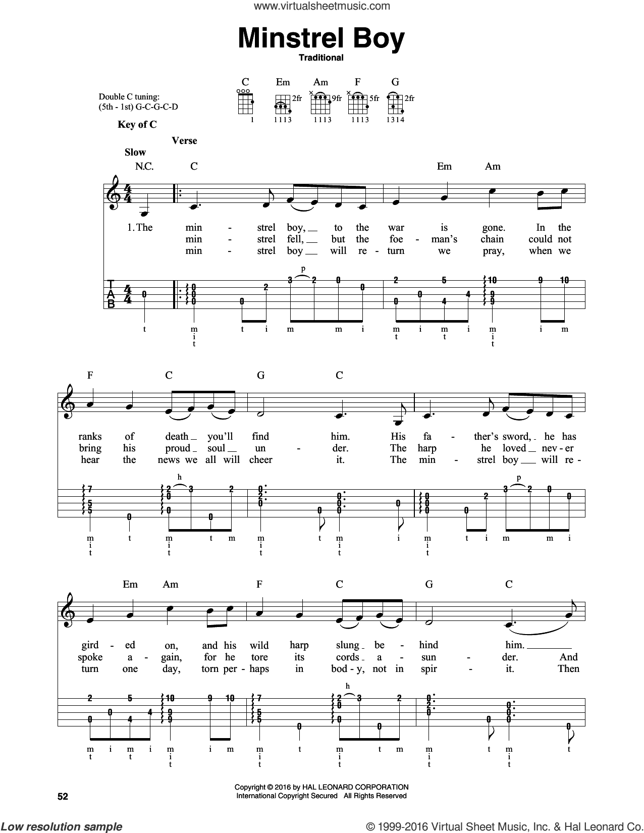 Minstrel Boy sheet music for banjo solo. Score Image Preview.