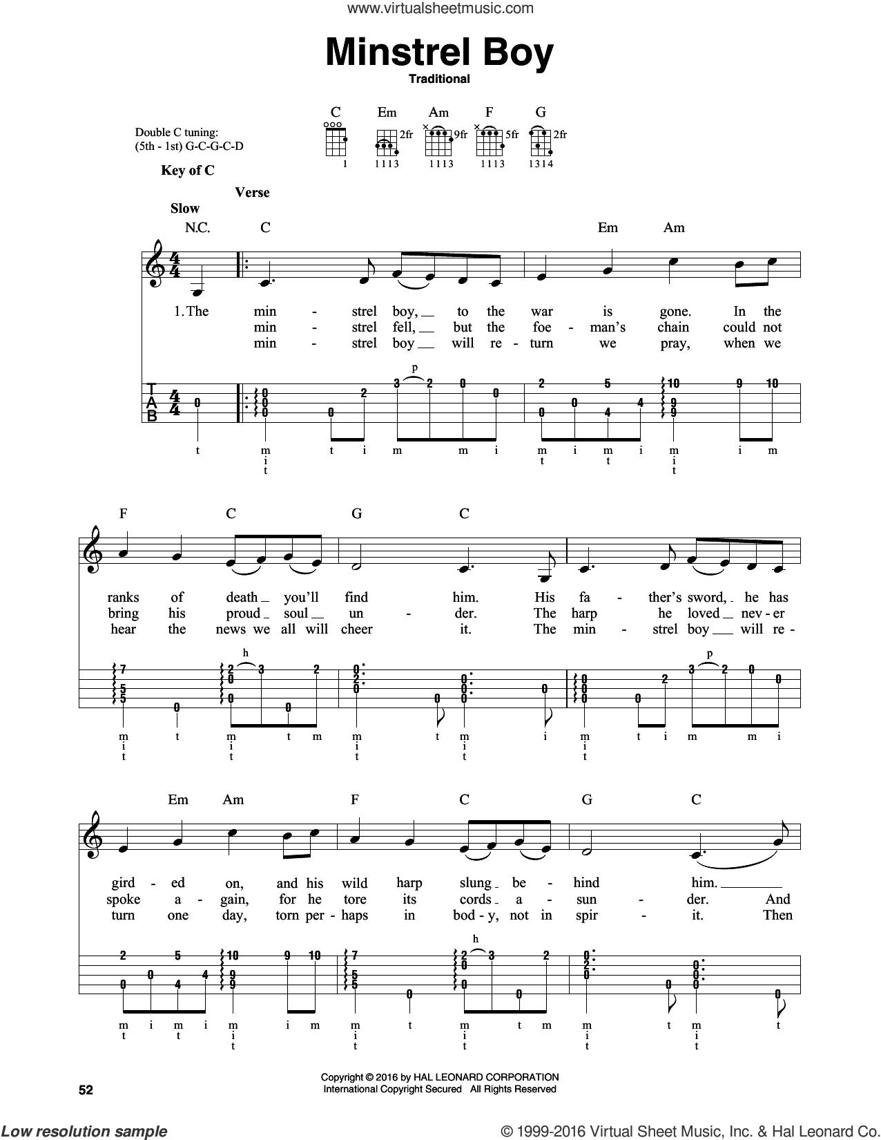 Minstrel Boy sheet music for banjo solo, intermediate skill level