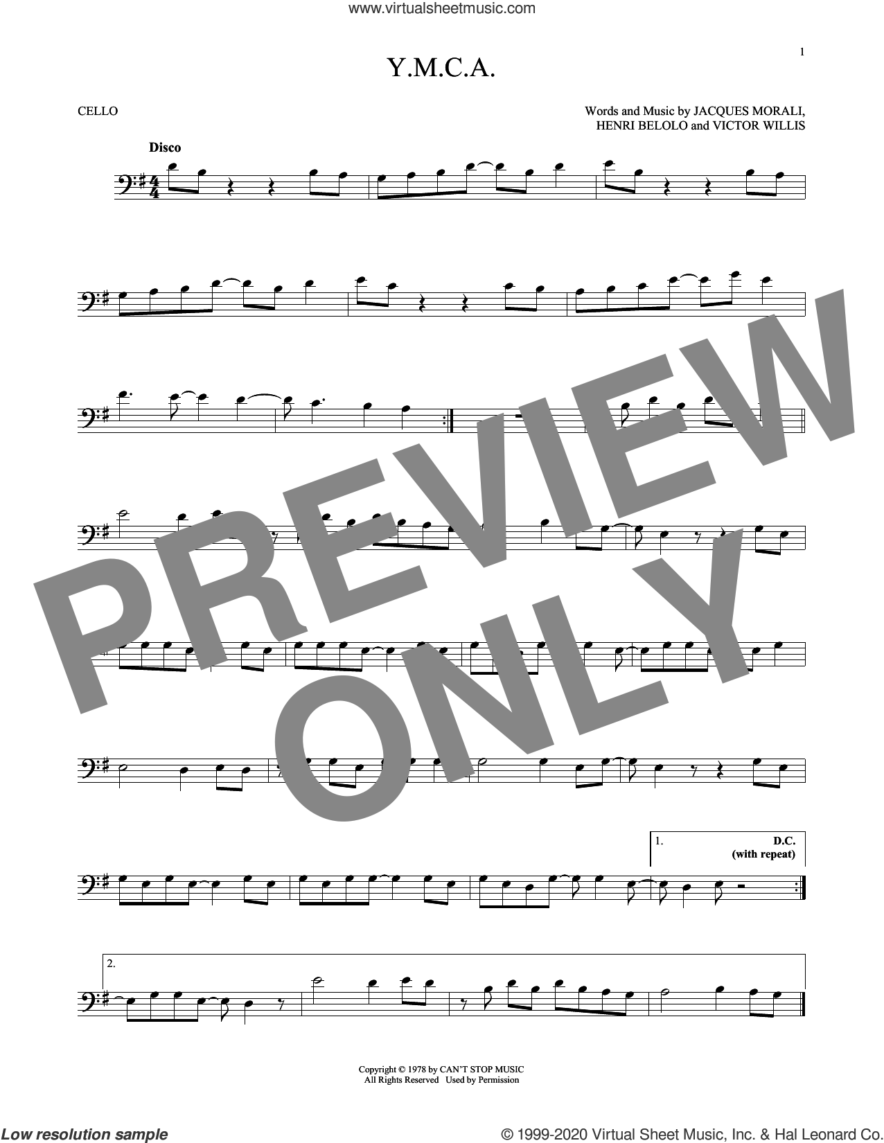 Y.M.C.A. sheet music for cello solo by Village People, Henri Belolo, Jacques Morali and Victor Willis, intermediate skill level