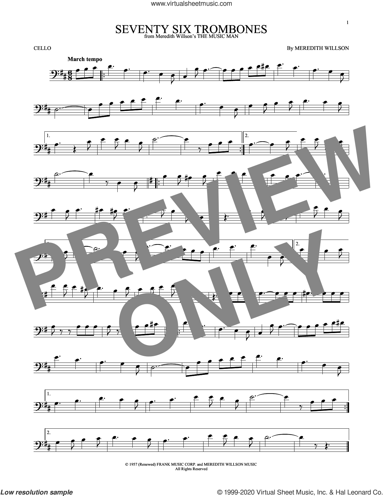 Seventy Six Trombones sheet music for cello solo by Meredith Willson, intermediate skill level