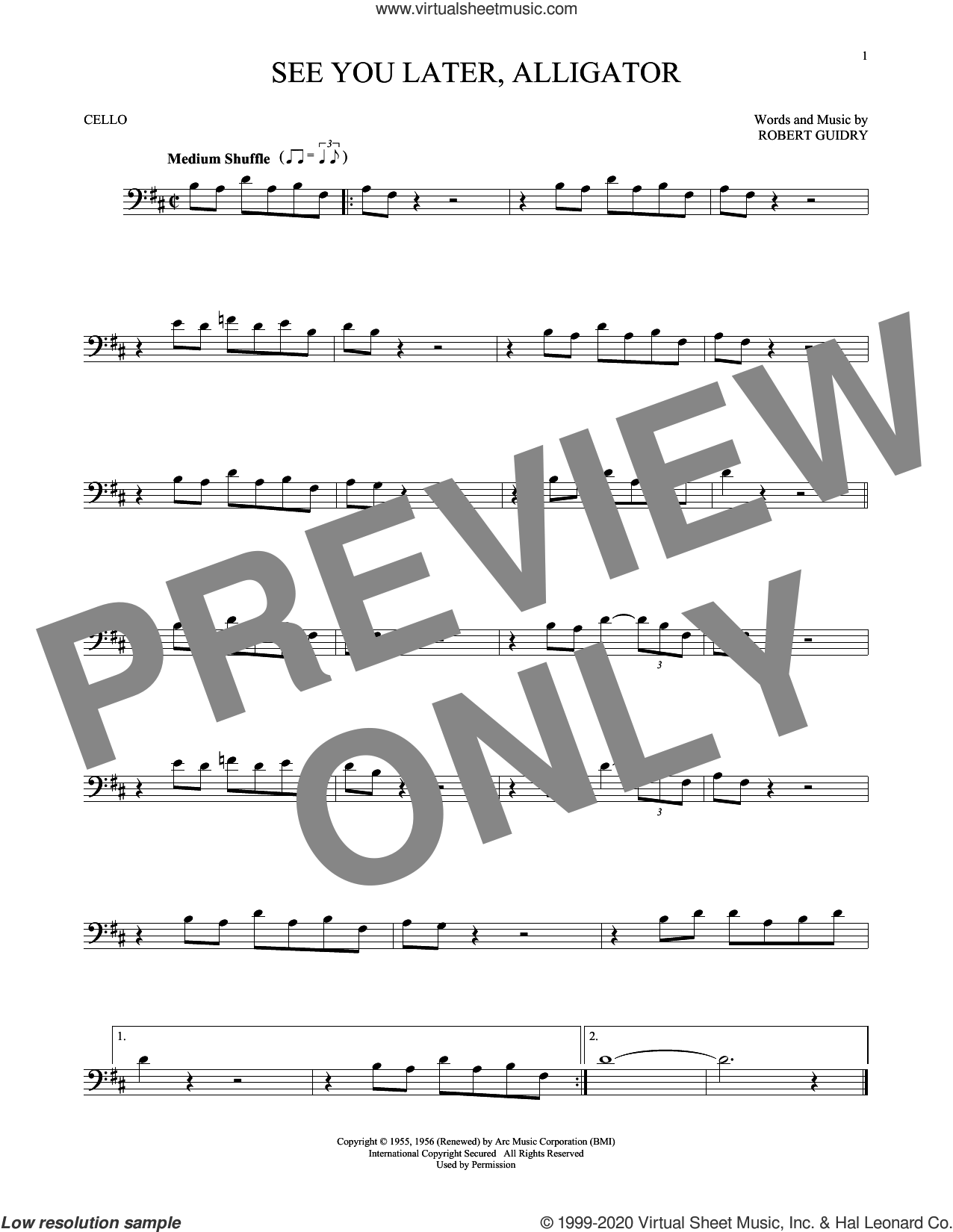 See You Later, Alligator sheet music for cello solo by Bill Haley & His Comets and Robert Guidry, intermediate skill level