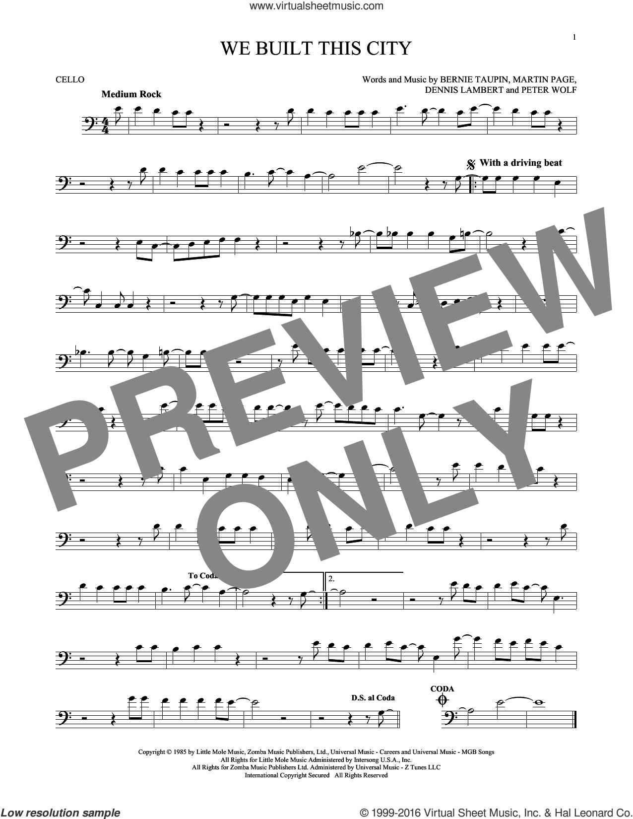 We Built This City sheet music for cello solo by Starship, Bernie Taupin, Dennis Lambert, Martin George Page and Peter Wolf, intermediate skill level