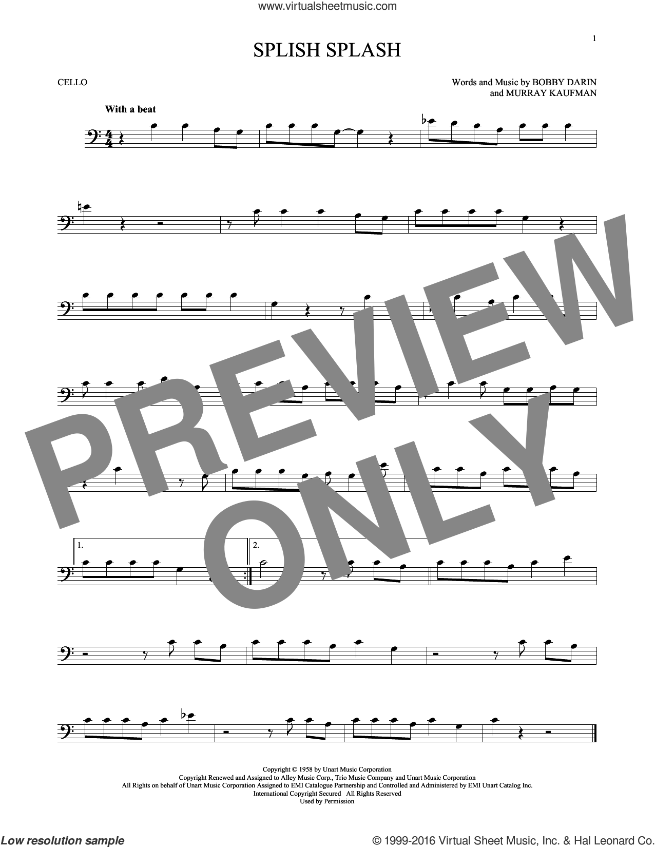 Splish Splash sheet music for cello solo by Bobby Darin and Murray Kaufman, intermediate skill level