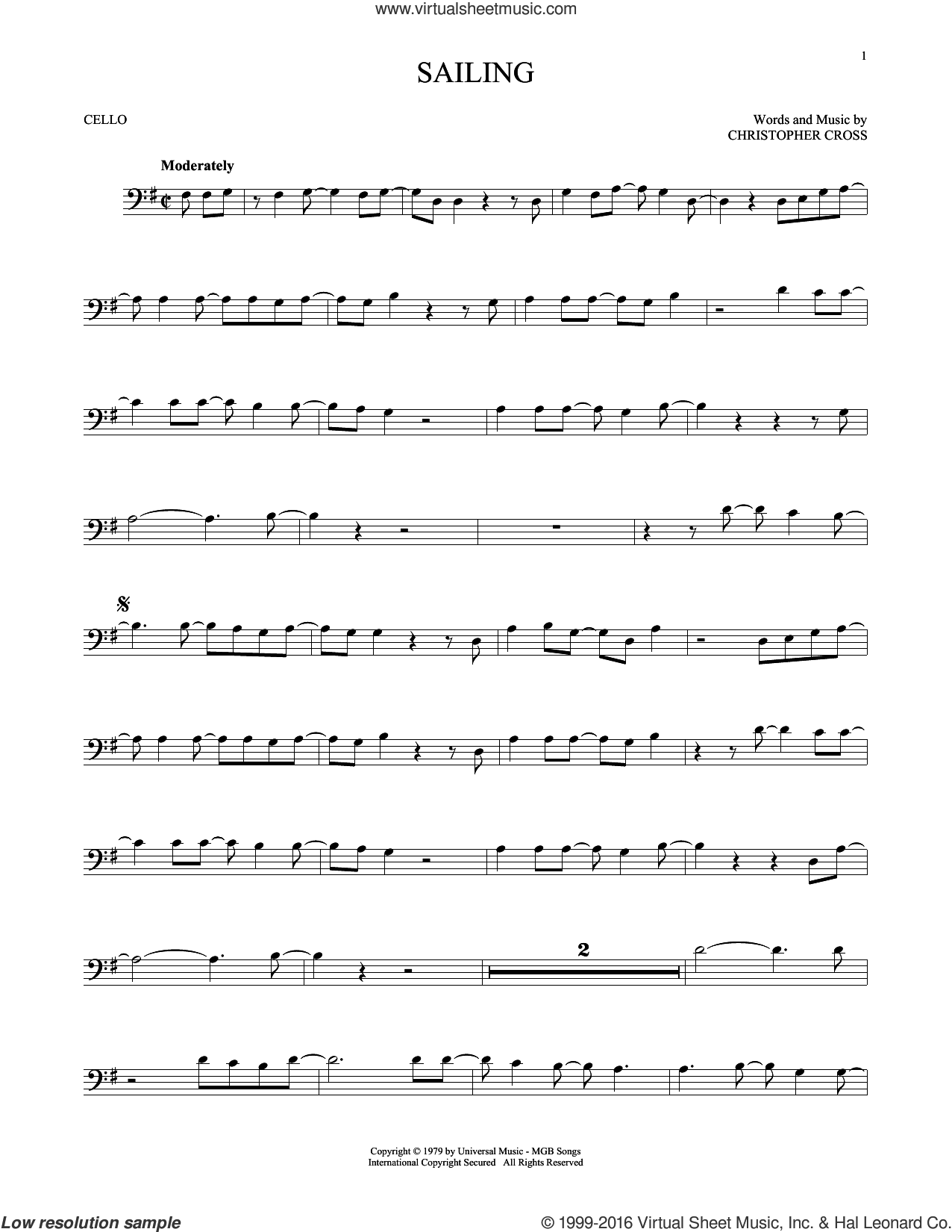 Sailing sheet music for cello solo by 'N Sync and Christopher Cross, intermediate skill level