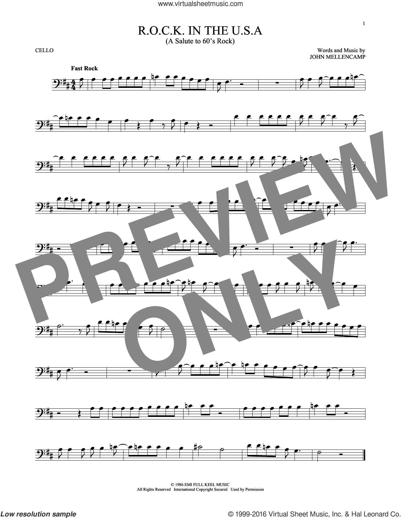 R.O.C.K. In The U.S.A. (A Salute To 60's Rock) sheet music for cello solo by John Mellencamp, intermediate skill level