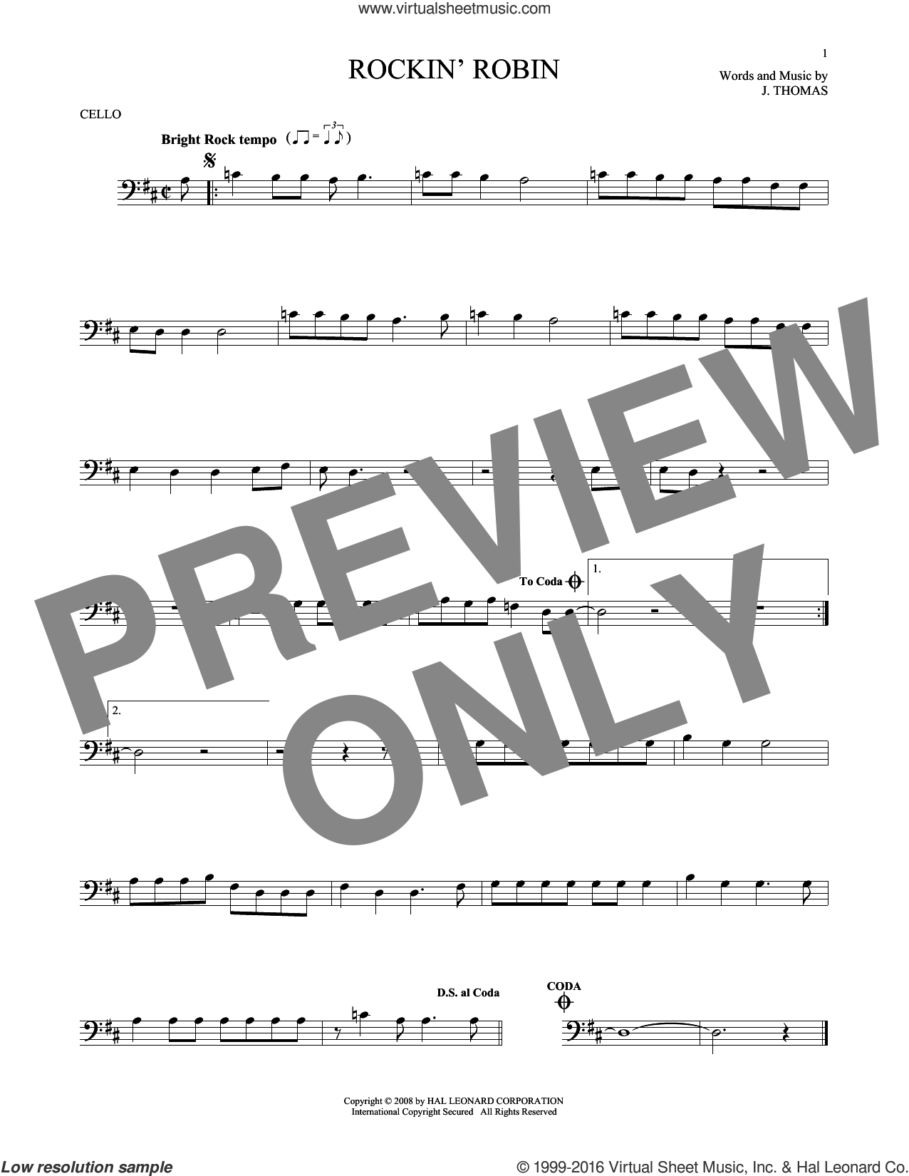 Rockin' Robin sheet music for cello solo by Michael Jackson, Bobby Day and Thomas Jimmie, intermediate. Score Image Preview.