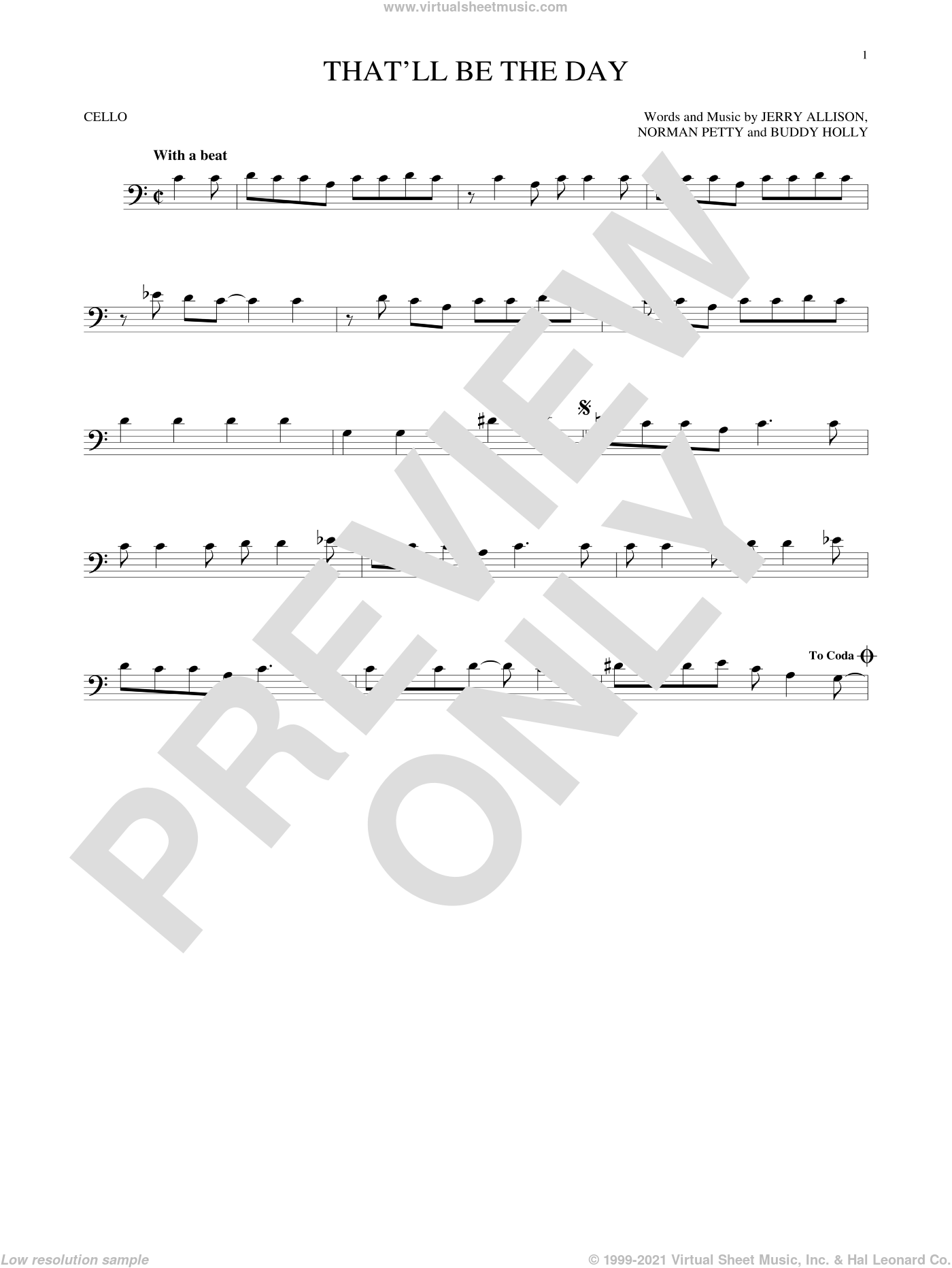 That'll Be The Day sheet music for cello solo by The Crickets, Buddy Holly, Jerry Allison and Norman Petty, intermediate skill level