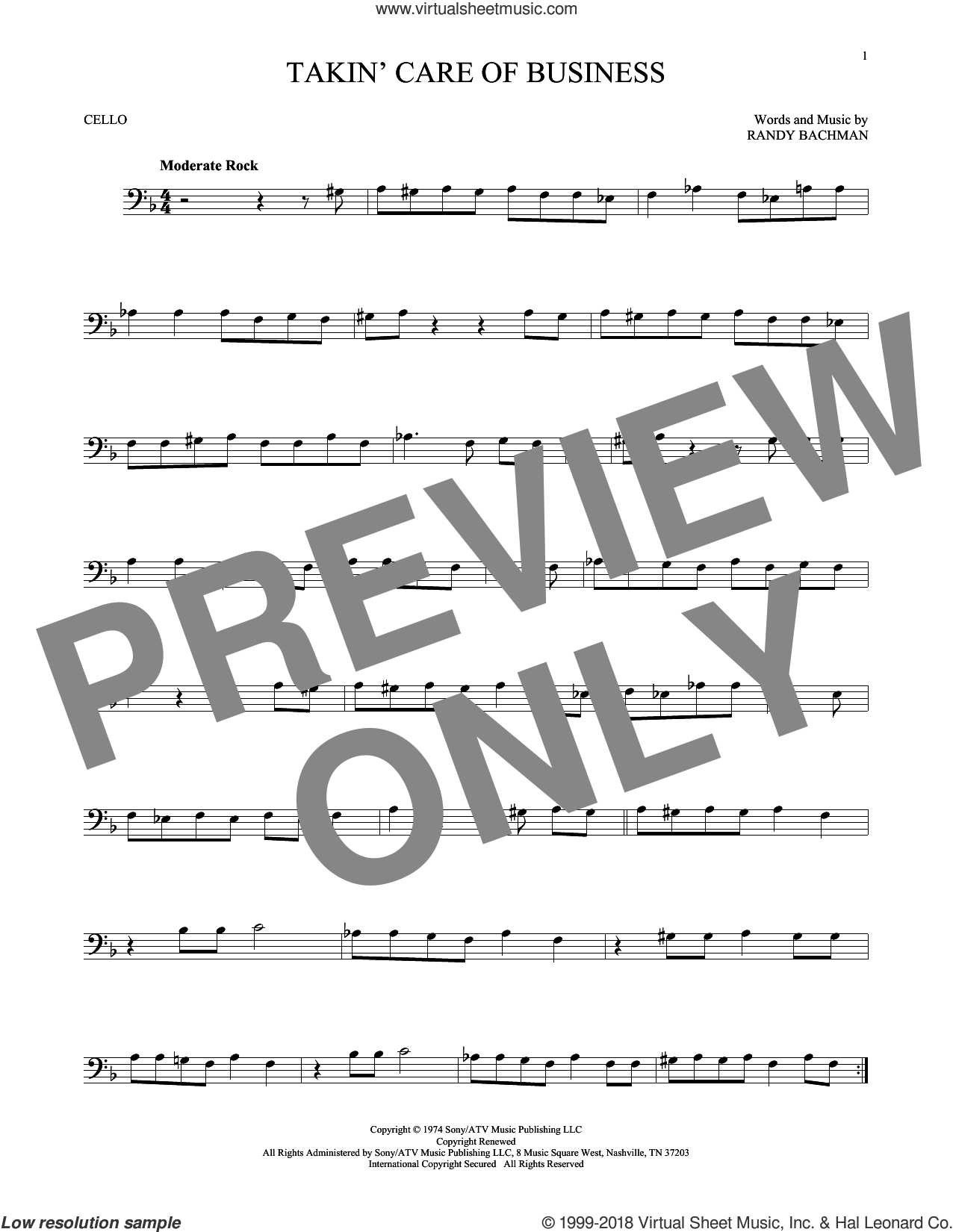 Takin' Care Of Business sheet music for cello solo by Randy Bachman. Score Image Preview.