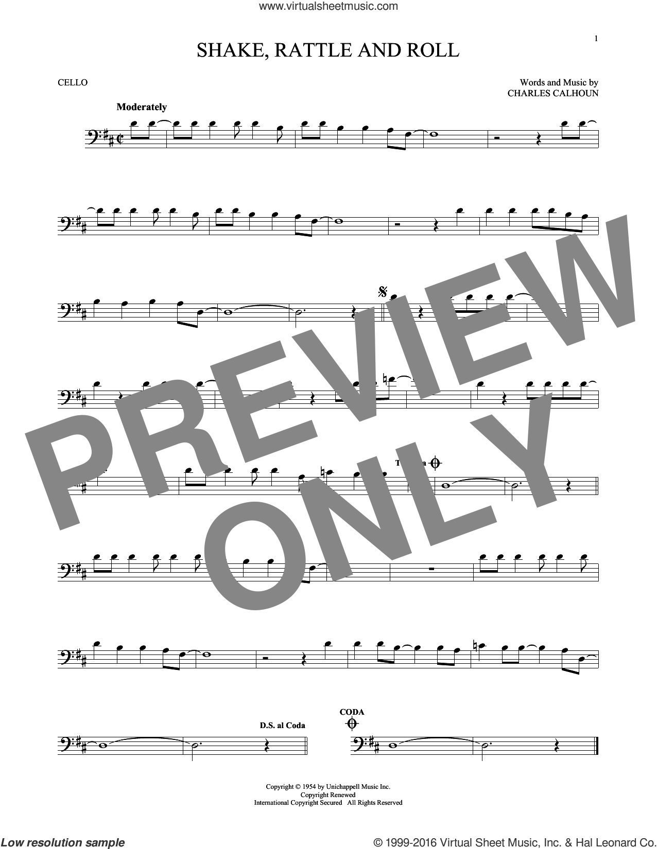 Shake, Rattle And Roll sheet music for cello solo by Bill Haley & His Comets, Arthur Conley and Charles Calhoun, intermediate skill level