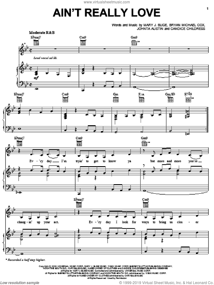 Ain't Really Love sheet music for voice, piano or guitar by Johnta Austin