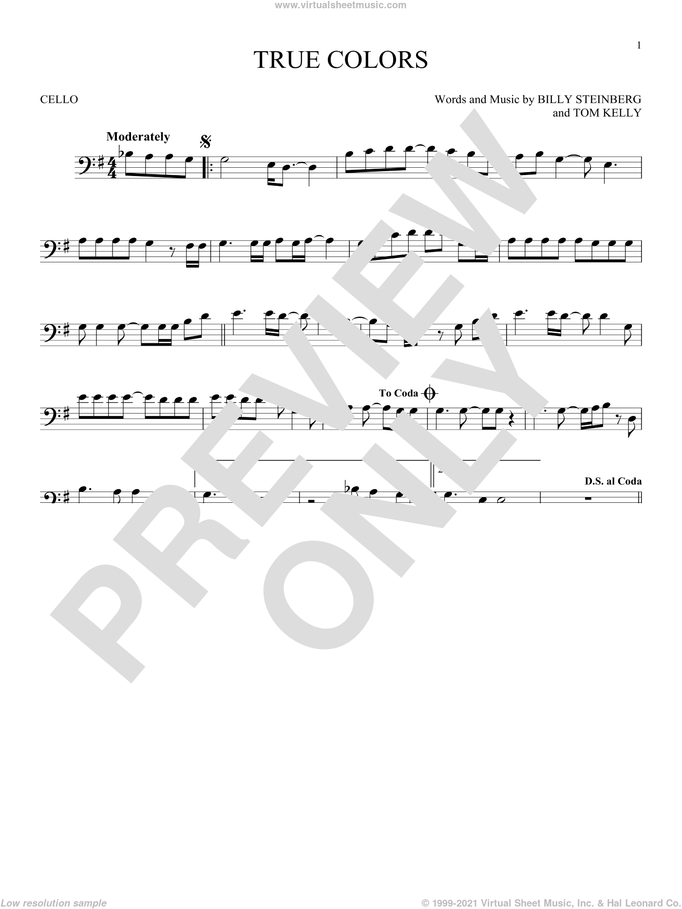 True Colors sheet music for cello solo by Cyndi Lauper, Phil Collins, Billy Steinberg and Tom Kelly, intermediate skill level