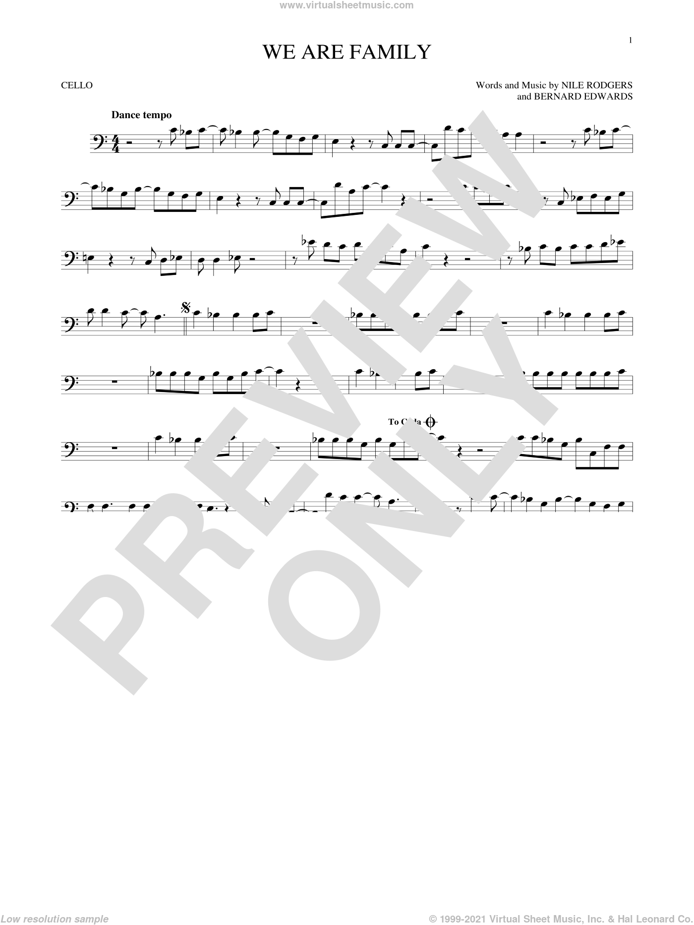 We Are Family sheet music for cello solo by Nile Rodgers, Sister Sledge and Bernard Edwards. Score Image Preview.