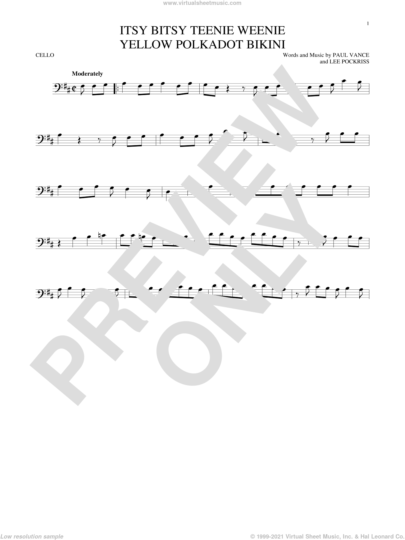 Itsy Bitsy Teenie Weenie Yellow Polkadot Bikini sheet music for cello solo by Brian Hyland, Lee Pockriss and Paul Vance, intermediate skill level