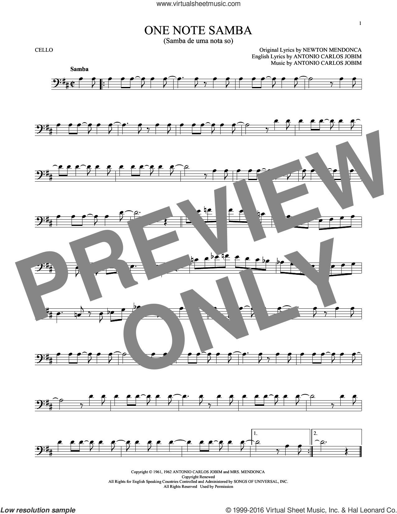 One Note Samba (Samba De Uma Nota So) sheet music for cello solo by Antonio Carlos Jobim, Pat Thomas and Newton Mendonca, intermediate skill level