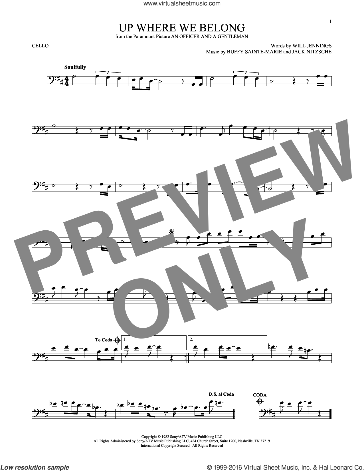 Up Where We Belong sheet music for cello solo by Joe Cocker & Jennifer Warnes, BeBe and CeCe Winans, Buffy Sainte-Marie, Jack Nitzche and Will Jennings, intermediate skill level