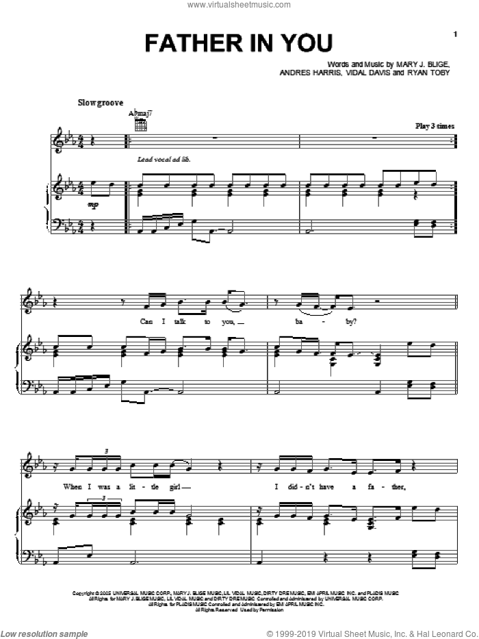 Father In You sheet music for voice, piano or guitar by Vidal Davis