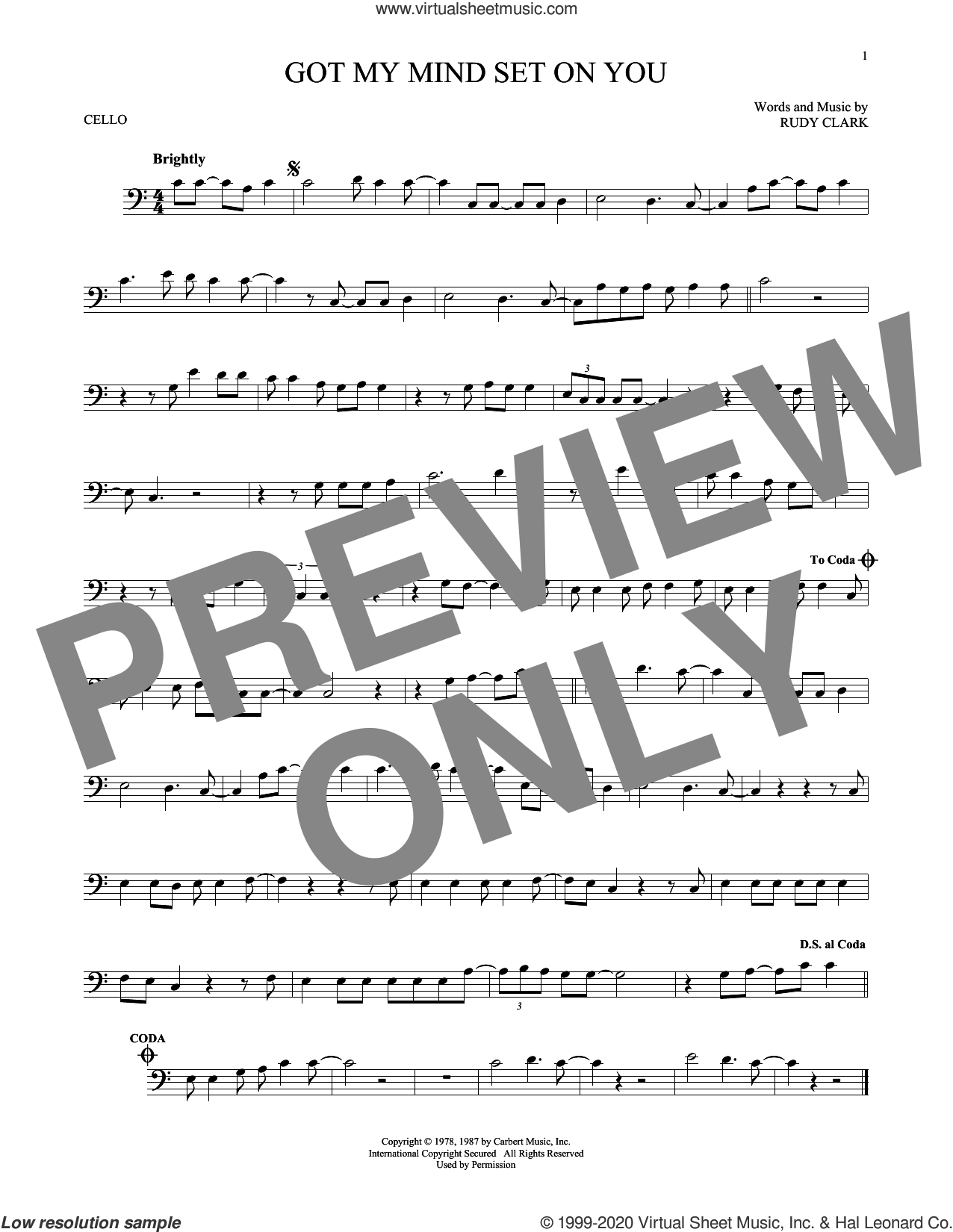 Got My Mind Set On You sheet music for cello solo by George Harrison and Rudy Clark, intermediate skill level