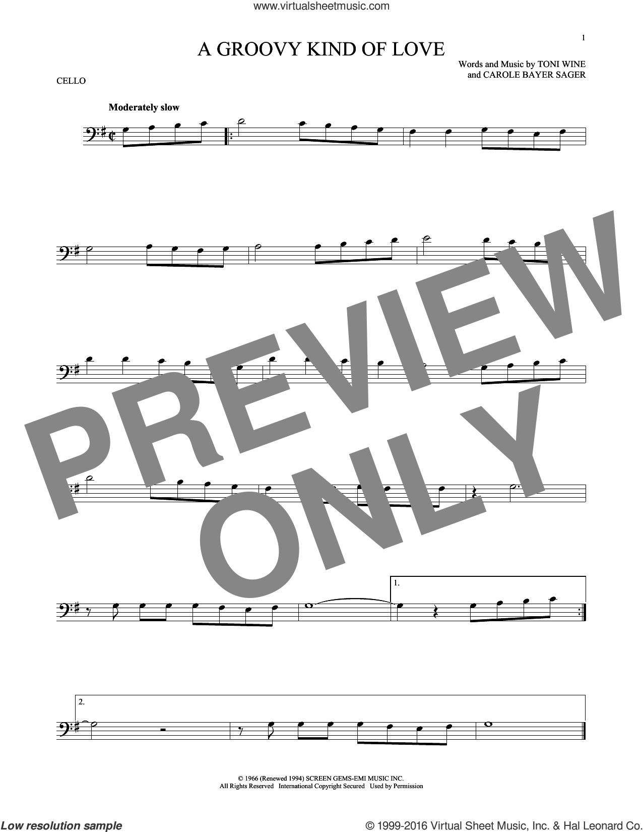 A Groovy Kind Of Love sheet music for cello solo by Phil Collins, The Mindbenders, Carole Bayer Sager and Toni Wine, intermediate skill level