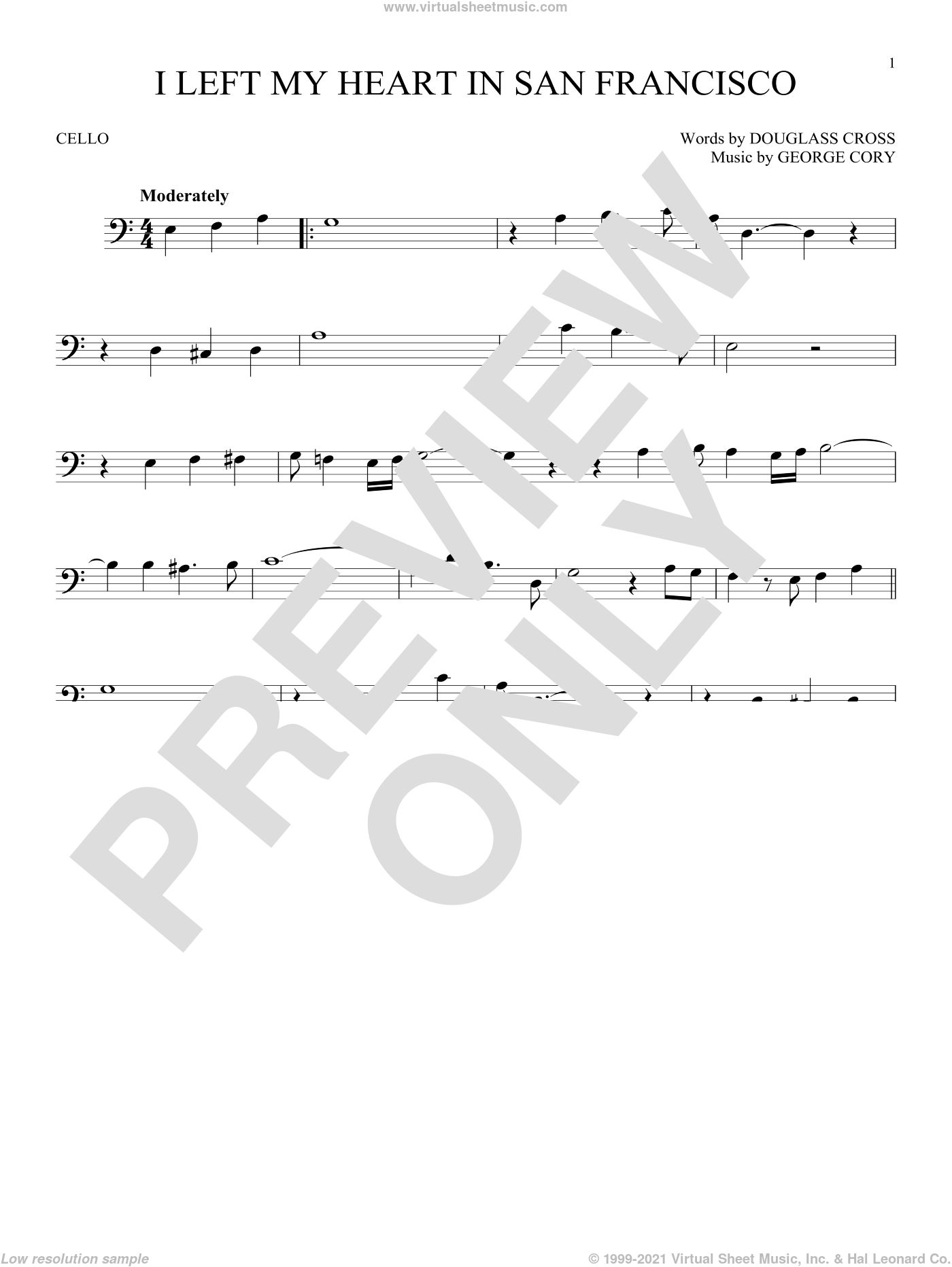 I Left My Heart In San Francisco sheet music for cello solo by Tony Bennett, Douglass Cross and George Cory, intermediate skill level