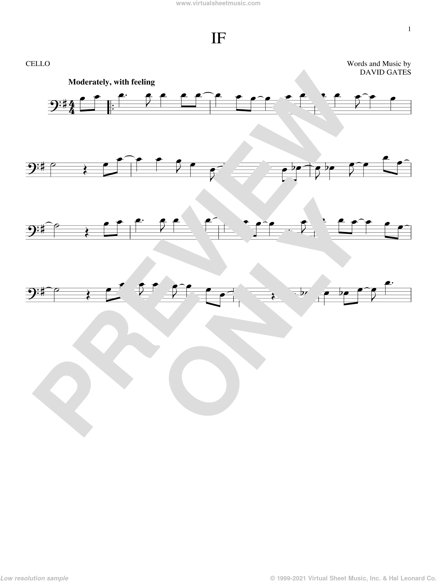 If sheet music for cello solo by Bread and David Gates, intermediate. Score Image Preview.