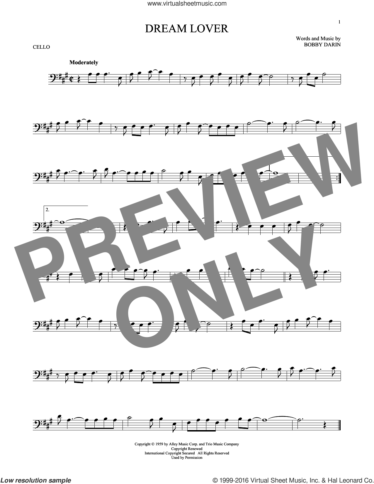Dream Lover sheet music for cello solo by Bobby Darin and Manhattan Transfer, intermediate skill level
