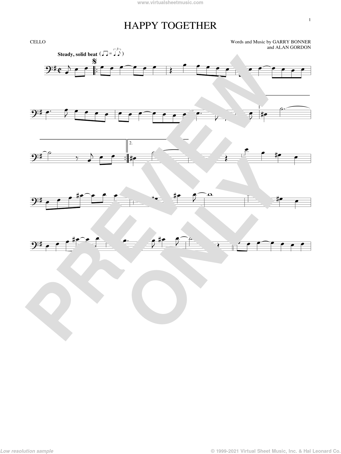 Happy Together sheet music for cello solo by The Turtles, Alan Gordon and Garry Bonner, intermediate skill level