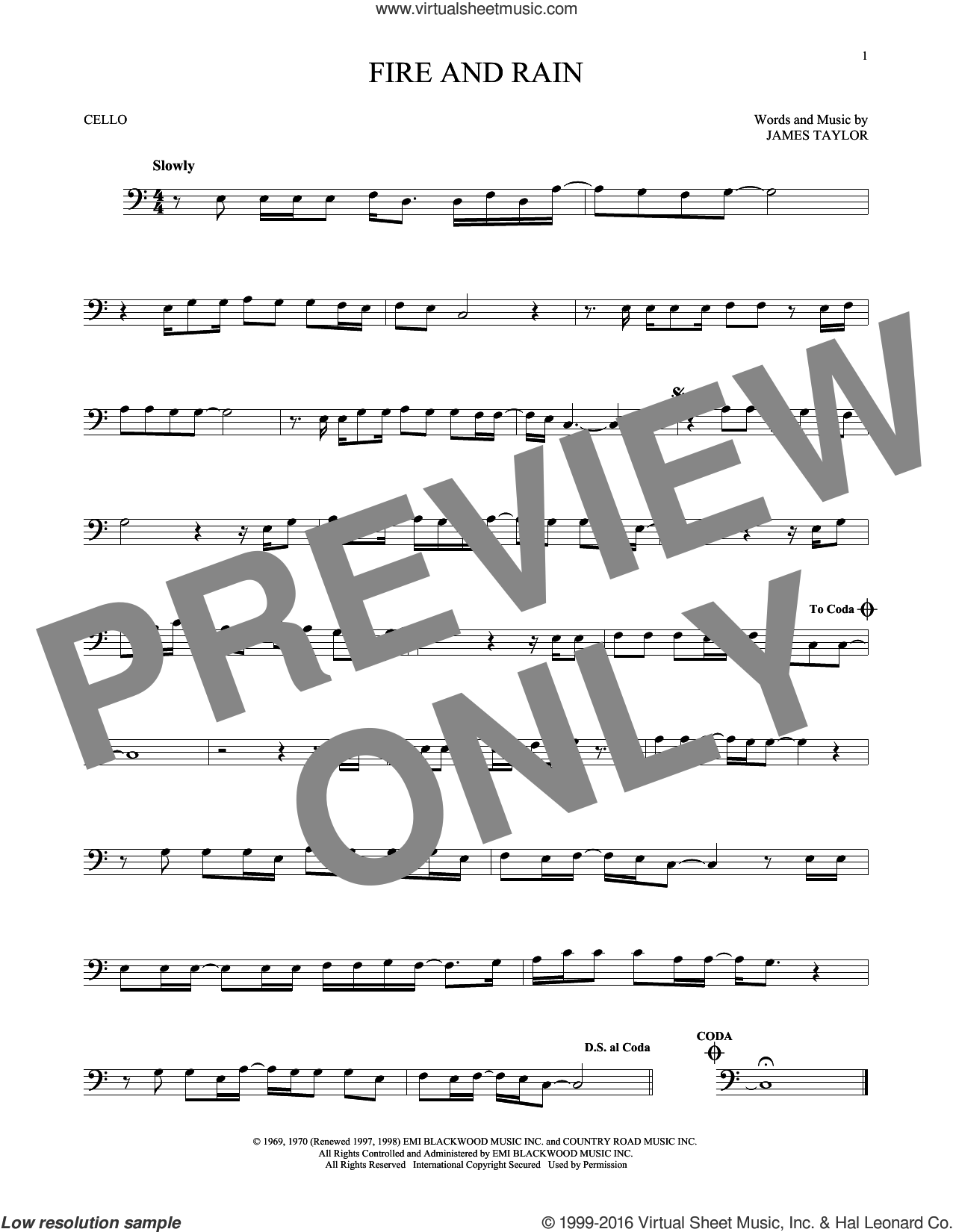 Fire And Rain sheet music for cello solo by James Taylor, intermediate skill level
