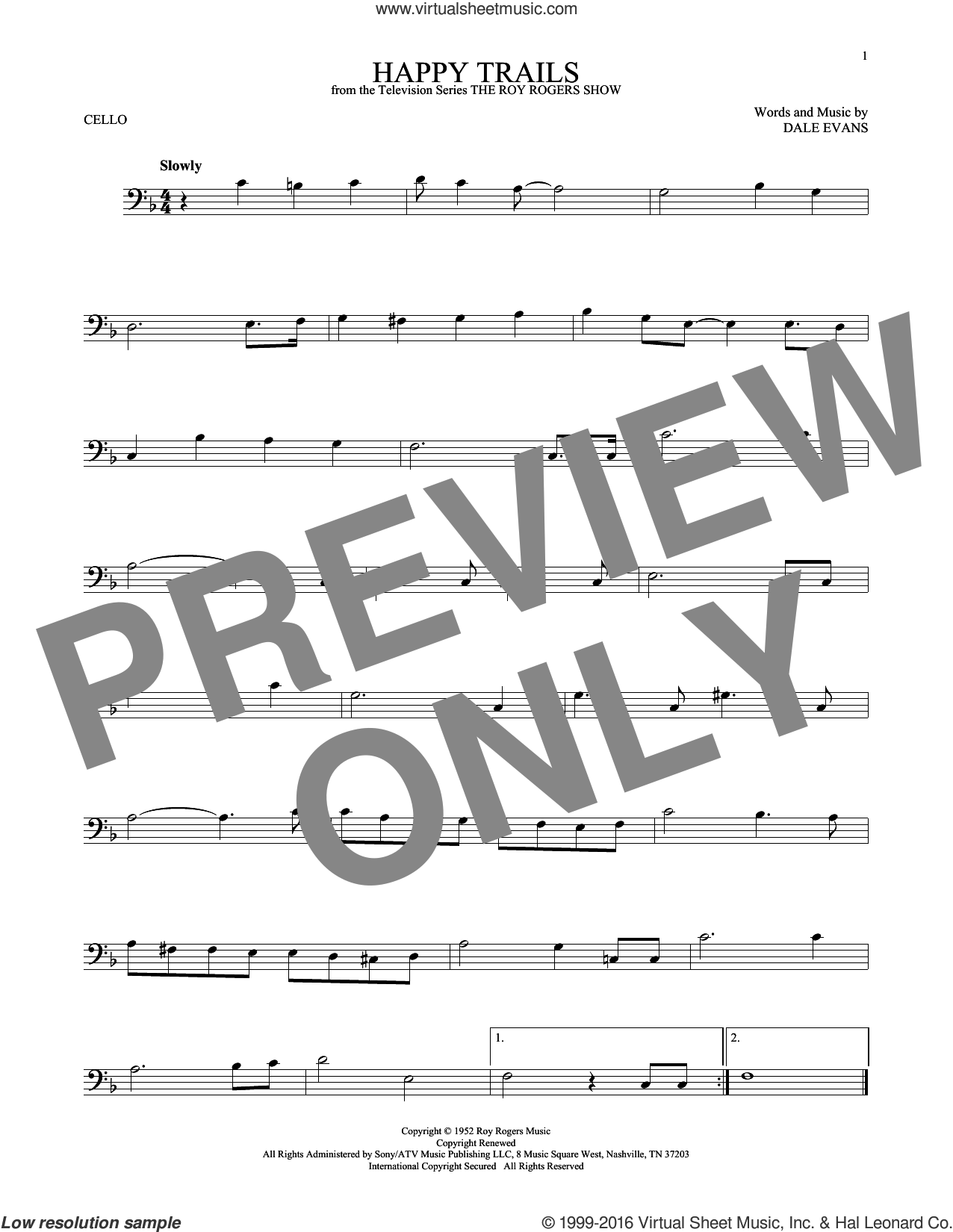 Happy Trails sheet music for cello solo by Roy Rogers and Dale Evans, intermediate skill level