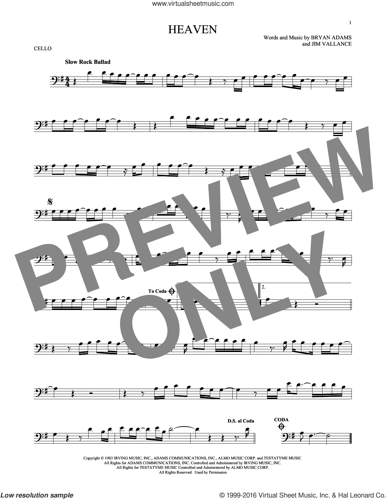 Heaven sheet music for cello solo by Bryan Adams, DJ Sammy & Yanou Featuring Do and Jim Vallance, intermediate skill level