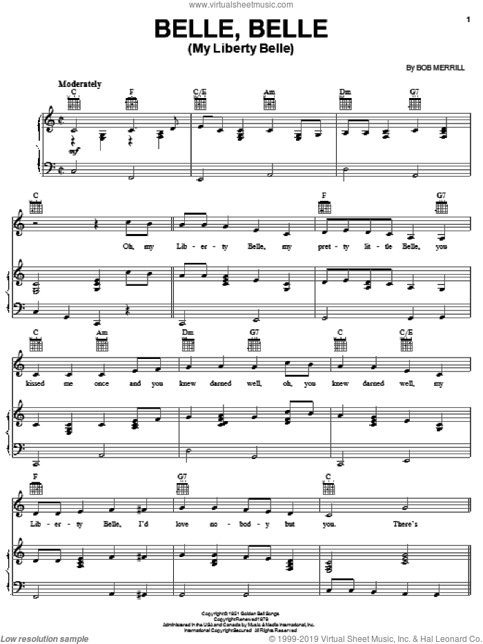 Belle, Belle (My Liberty Belle) sheet music for voice, piano or guitar by Bob Merrill, intermediate skill level