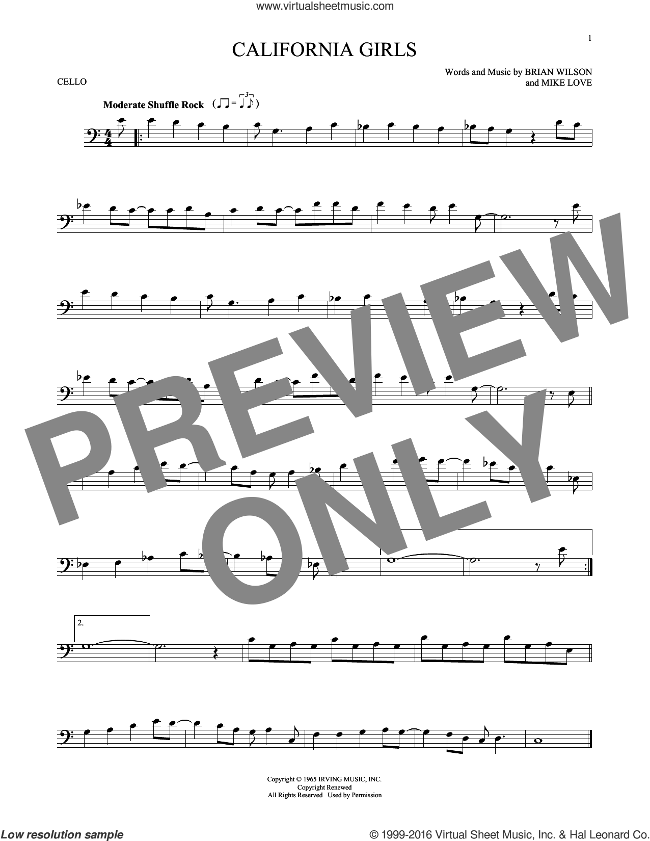 California Girls sheet music for cello solo by The Beach Boys, David Lee Roth, Brian Wilson and Mike Love, intermediate skill level