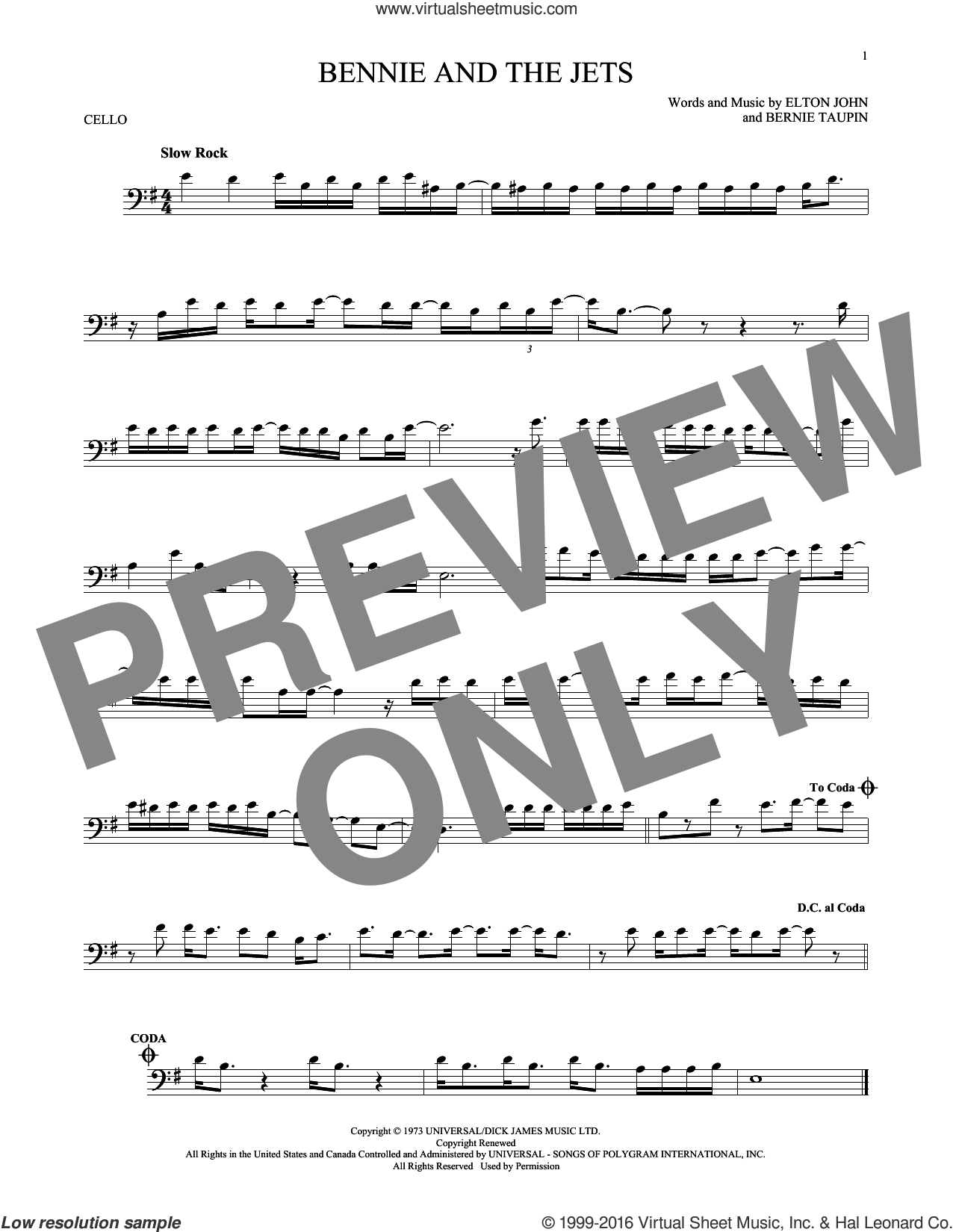 Bennie And The Jets sheet music for cello solo by Elton John and Bernie Taupin, intermediate skill level