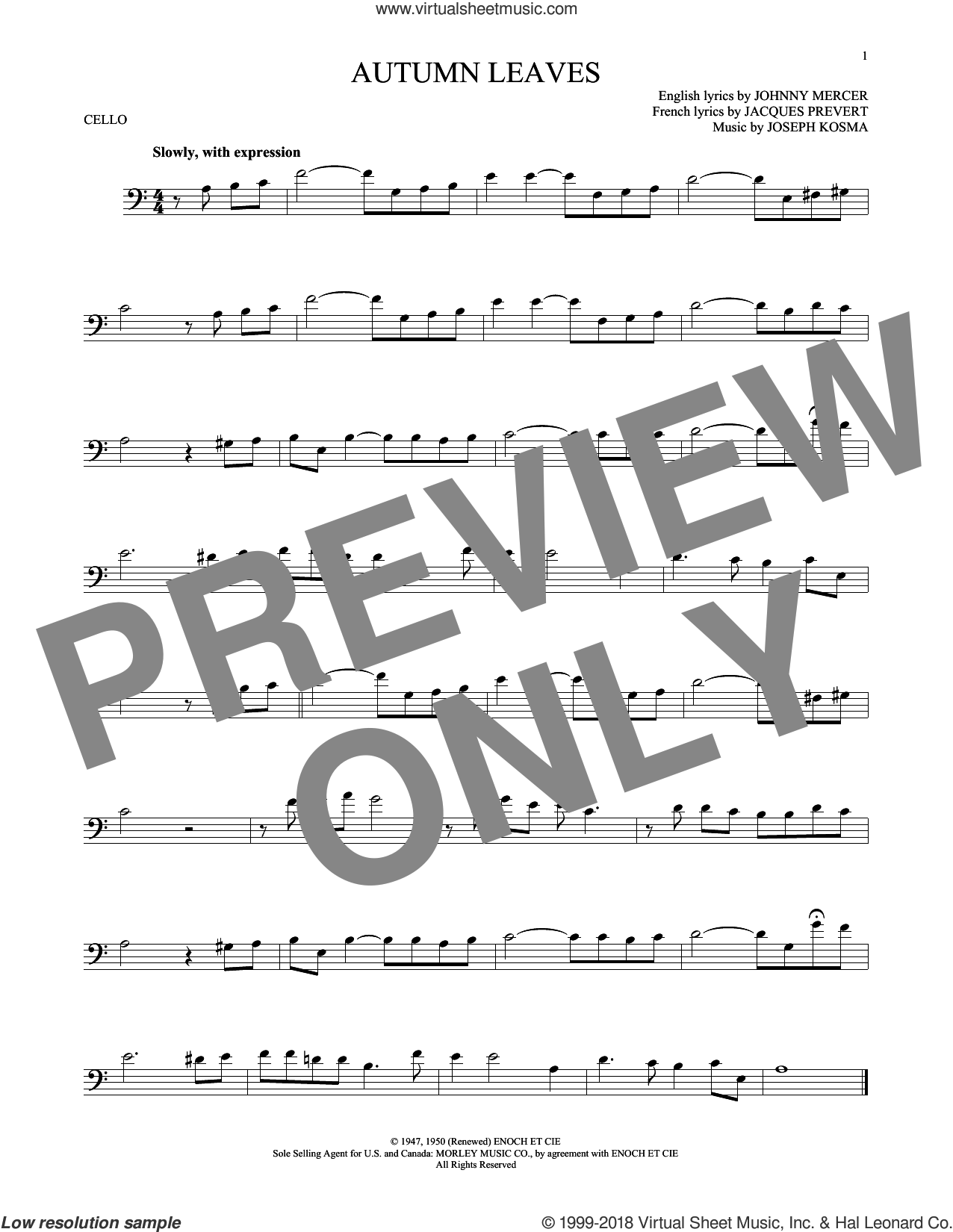 Autumn Leaves sheet music for cello solo by Joseph Kosma, Mitch Miller, Roger Williams, Steve Allen & George Cates, Jacques Prevert and Johnny Mercer, intermediate skill level