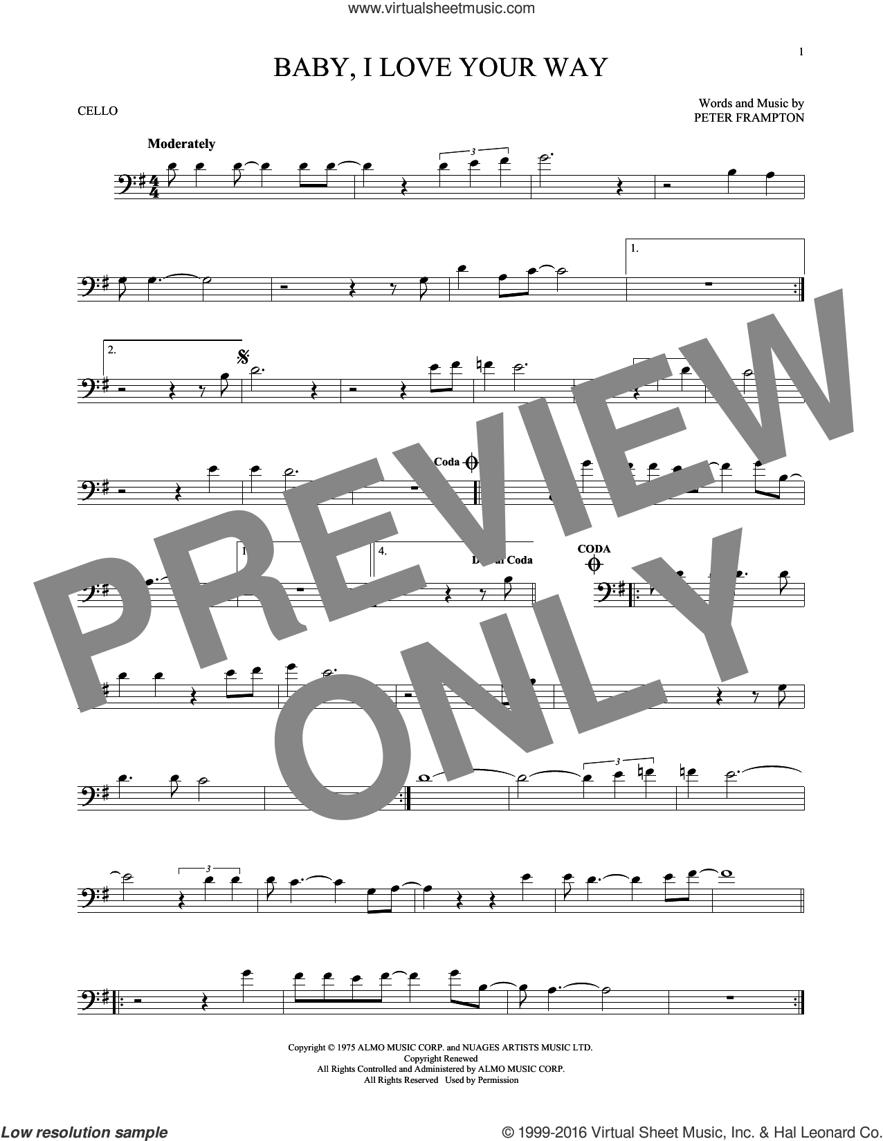 Baby, I Love Your Way sheet music for cello solo by Peter Frampton, intermediate cello. Score Image Preview.