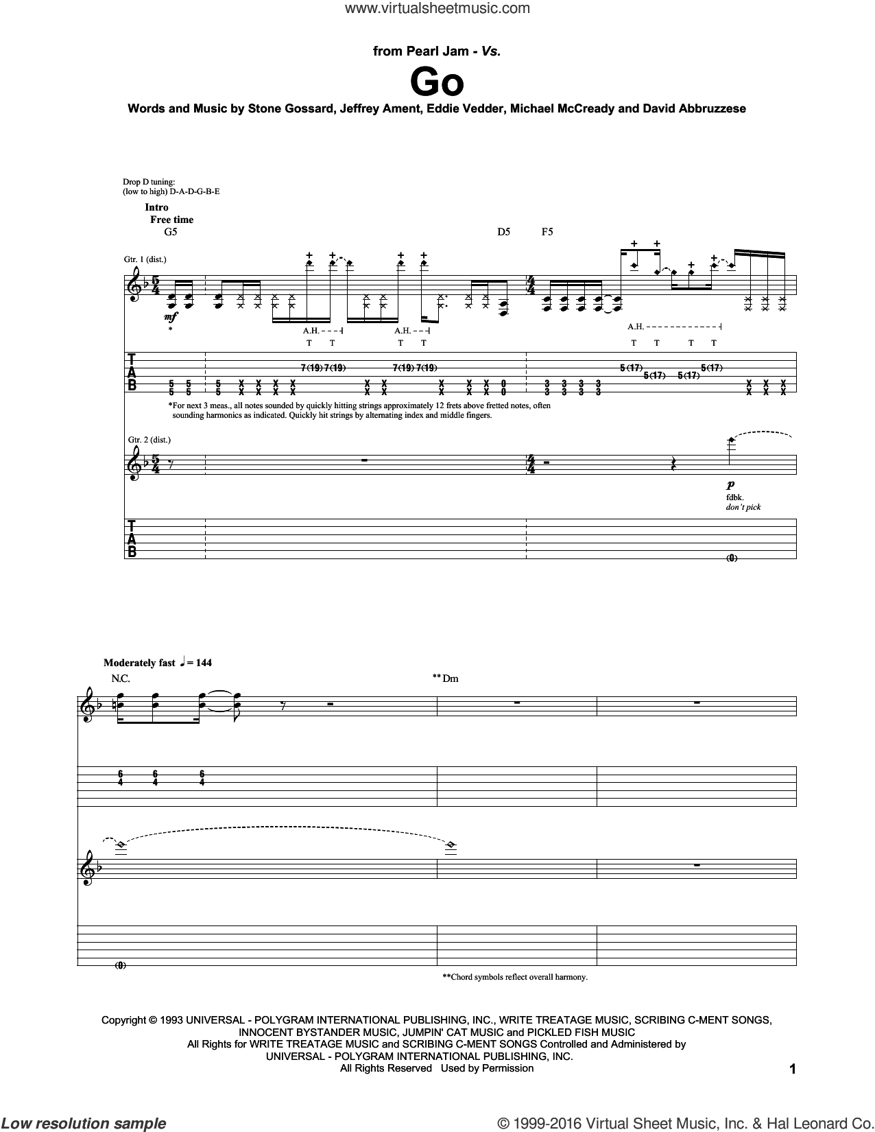 Go sheet music for guitar (tablature) by Stone Gossard, Pearl Jam, Eddie Vedder, Jeffrey Ament and Michael McCready. Score Image Preview.