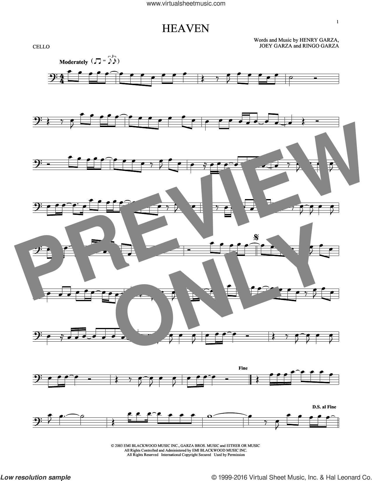 Heaven sheet music for cello solo by Ringo Garza and Los Lonely Boys. Score Image Preview.