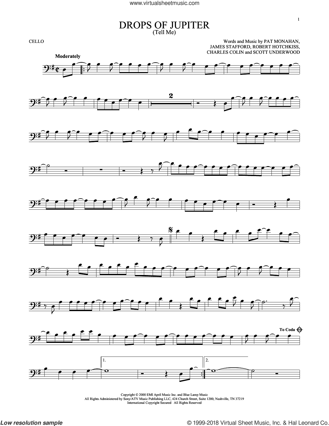 Drops Of Jupiter (Tell Me) sheet music for cello solo by Train, Charles Colin, James Stafford, Pat Monahan, Robert Hotchkiss and Scott Underwood, intermediate skill level