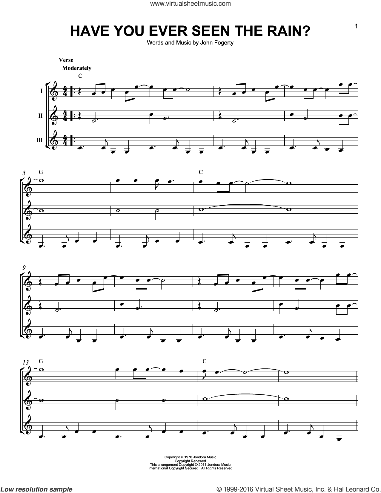 Have You Ever Seen The Rain? sheet music for guitar ensemble by Creedence Clearwater Revival and John Fogerty, intermediate skill level