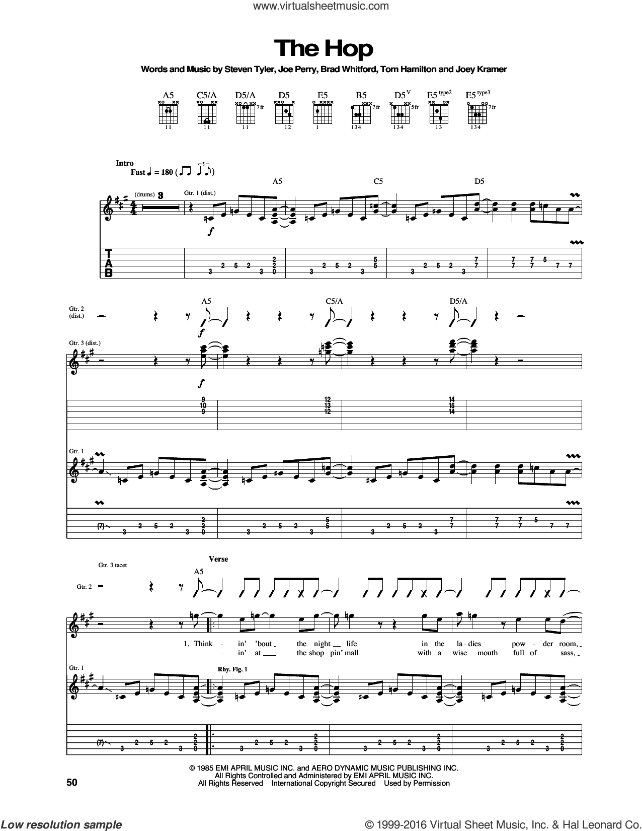 The Hop sheet music for guitar (tablature) by Aerosmith, Brad Whitford, Joe Perry, Joey Kramer, Steven Tyler and Tom Hamilton, intermediate