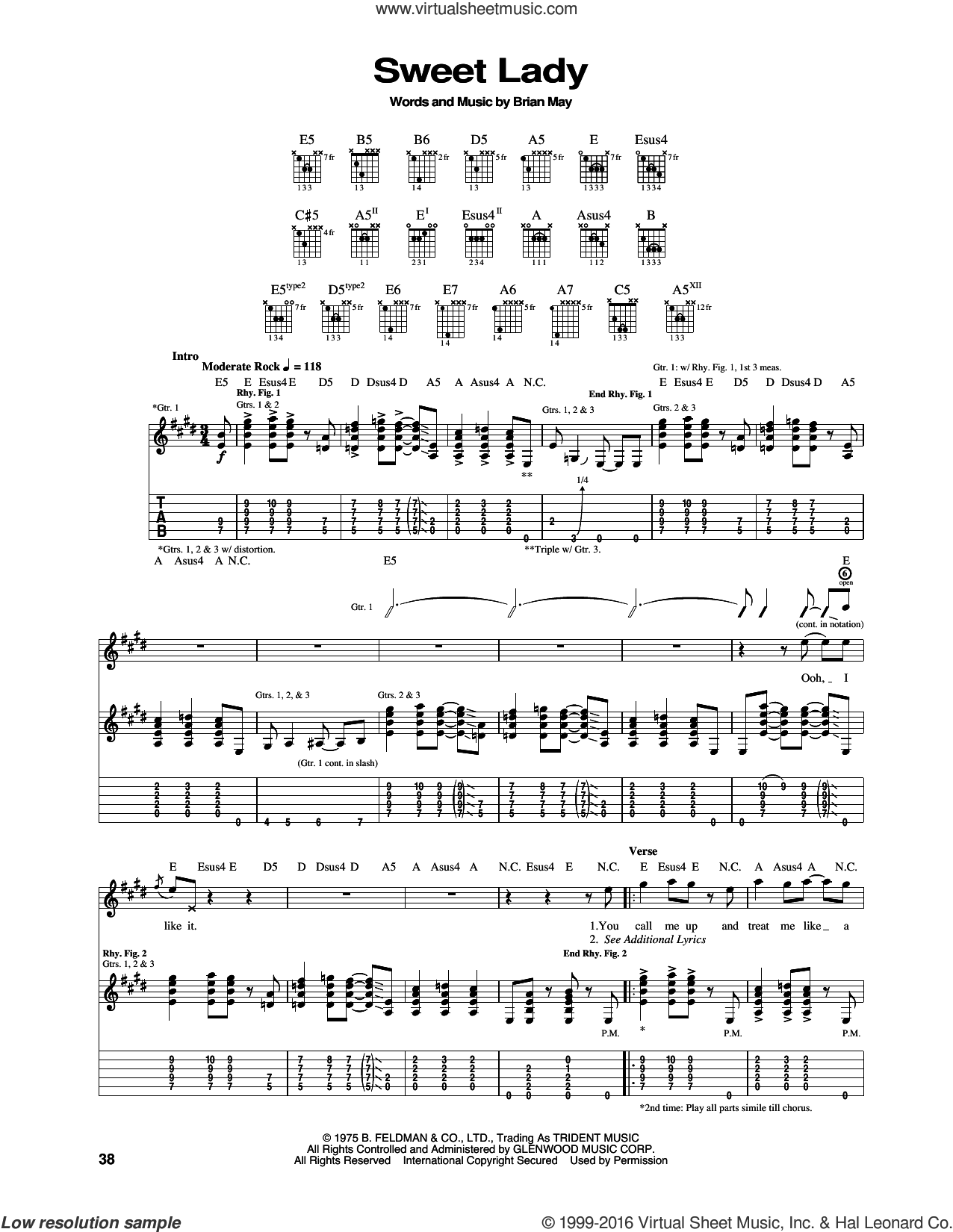 Sweet Lady sheet music for guitar (tablature) by Brian May and Queen. Score Image Preview.