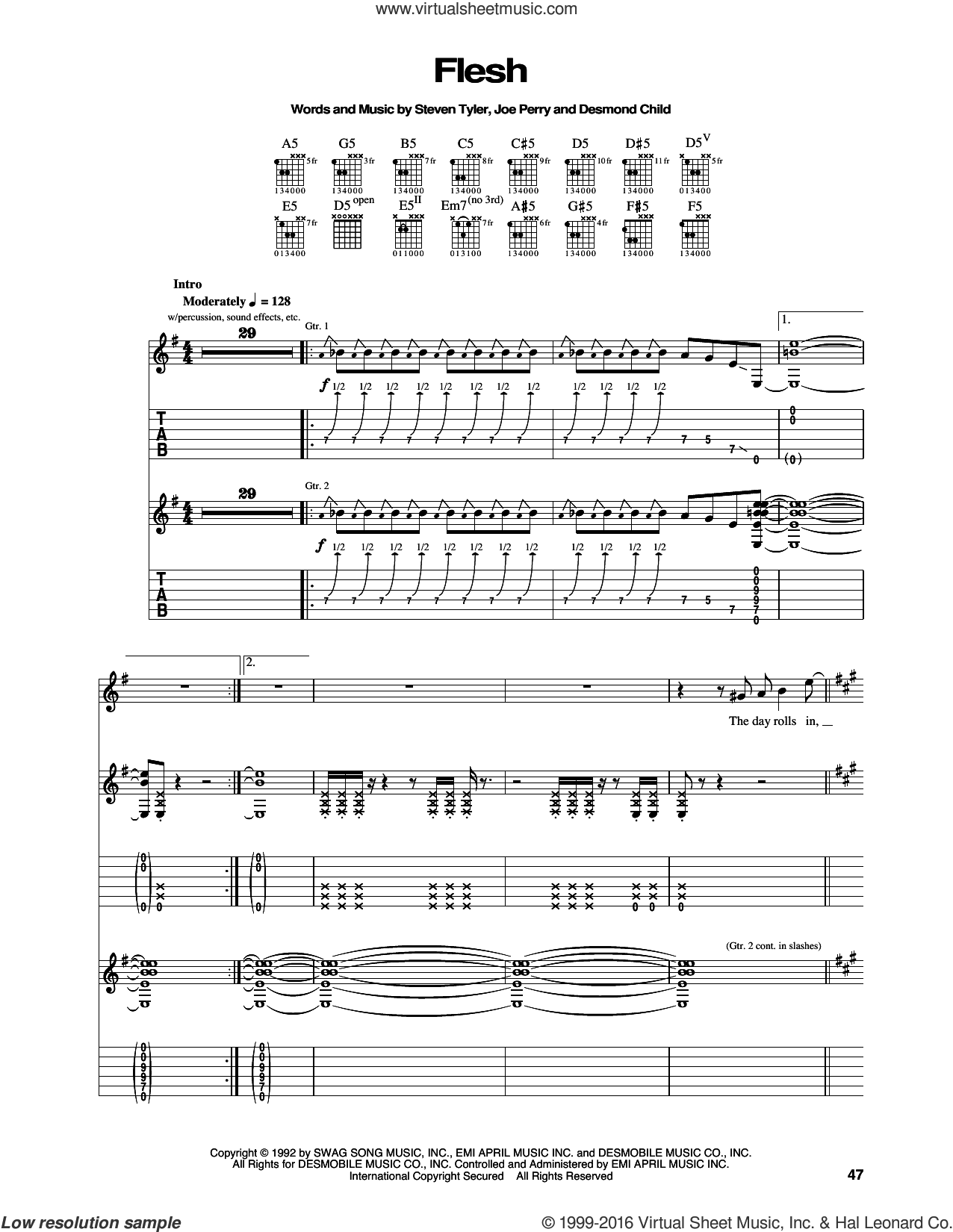 Flesh sheet music for guitar (tablature) by Aerosmith, Desmond Child, Joe Perry and Steven Tyler, intermediate