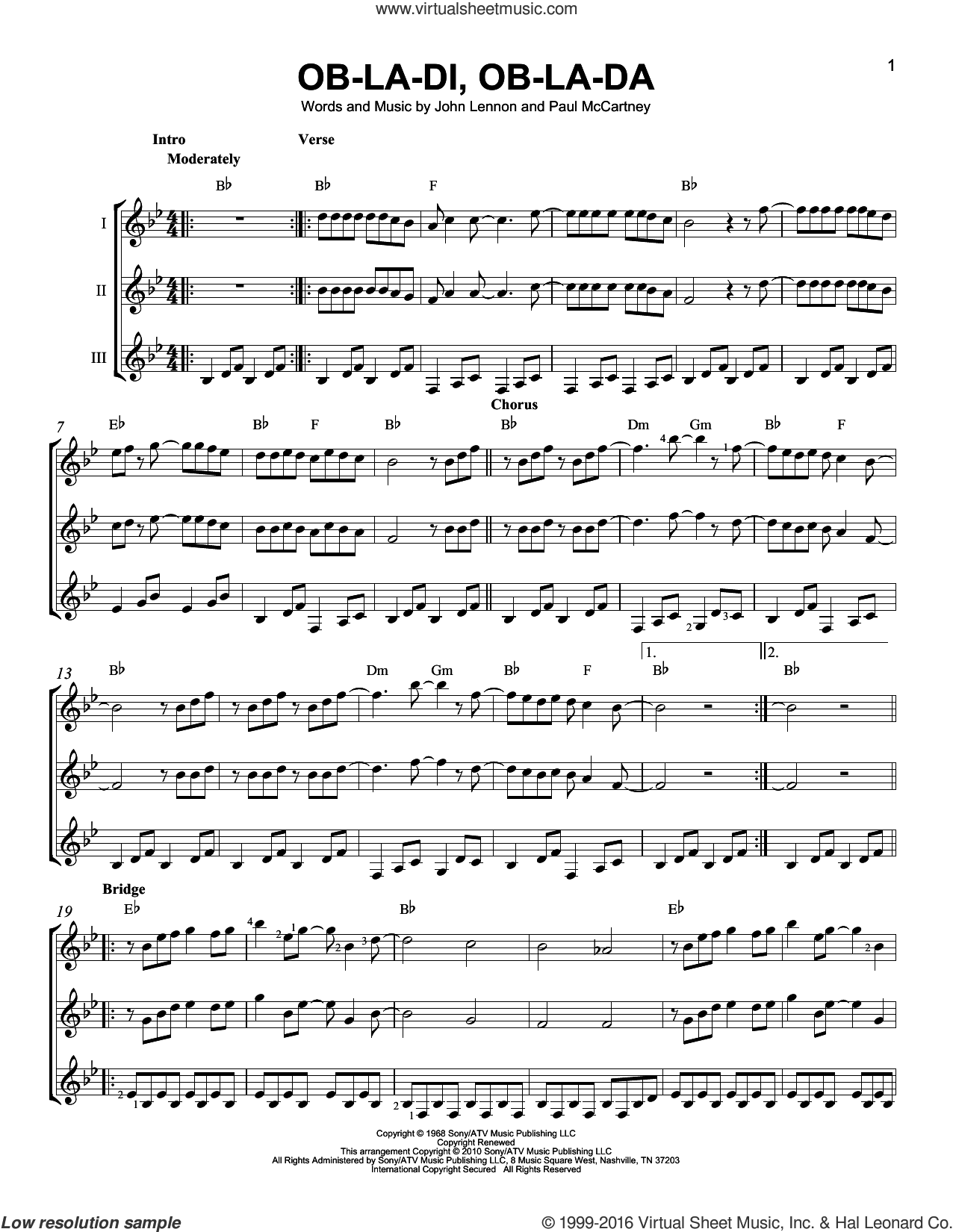 Ob-La-Di, Ob-La-Da sheet music for guitar ensemble by The Beatles, John Lennon and Paul McCartney, intermediate