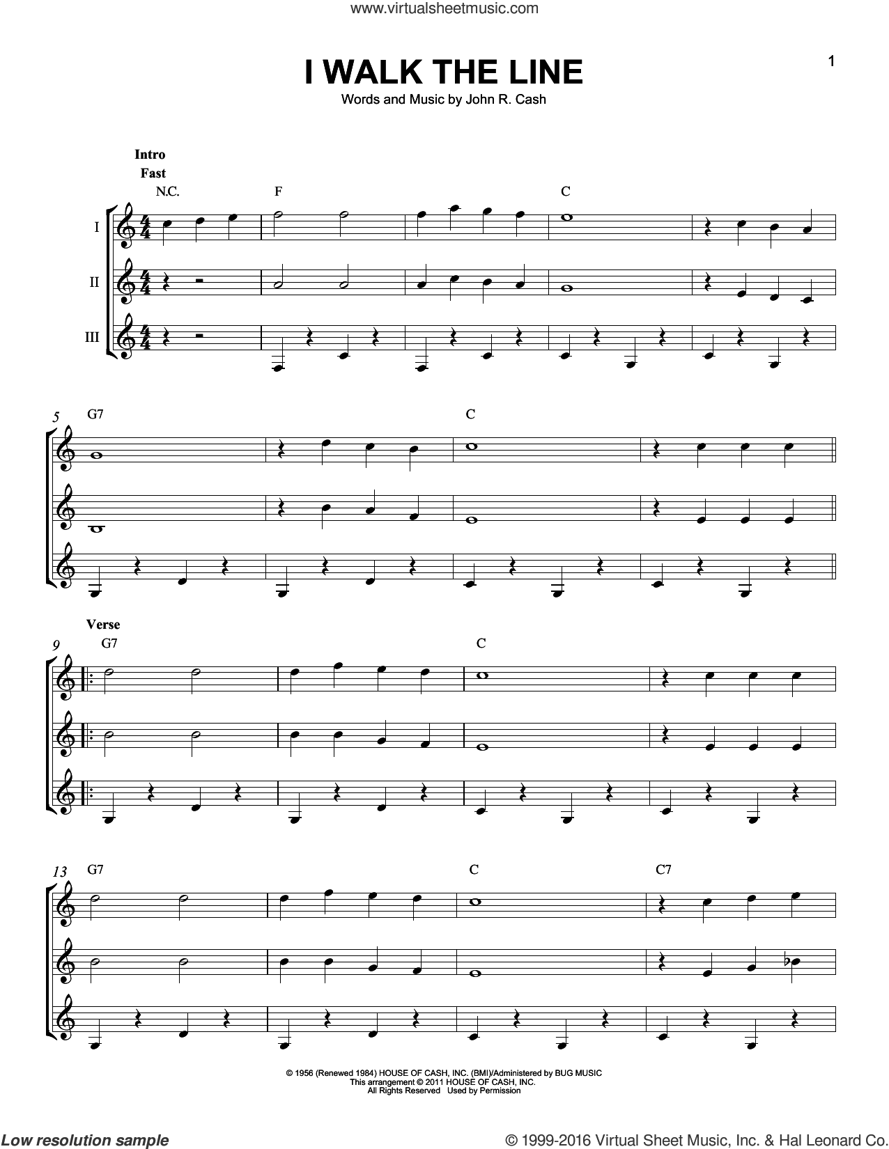 I Walk The Line sheet music for guitar ensemble by Johnny Cash. Score Image Preview.