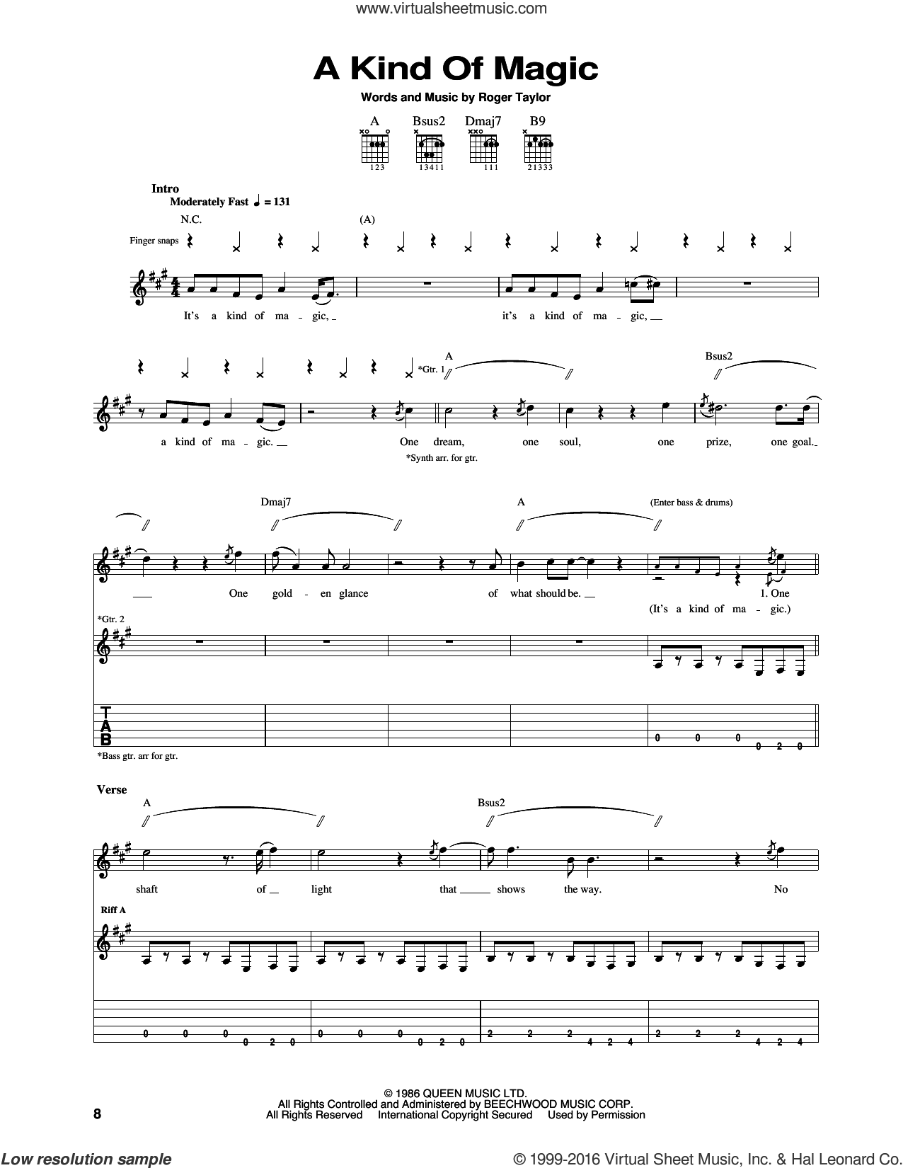 A Kind Of Magic sheet music for guitar (tablature) by Roger Taylor and Queen. Score Image Preview.