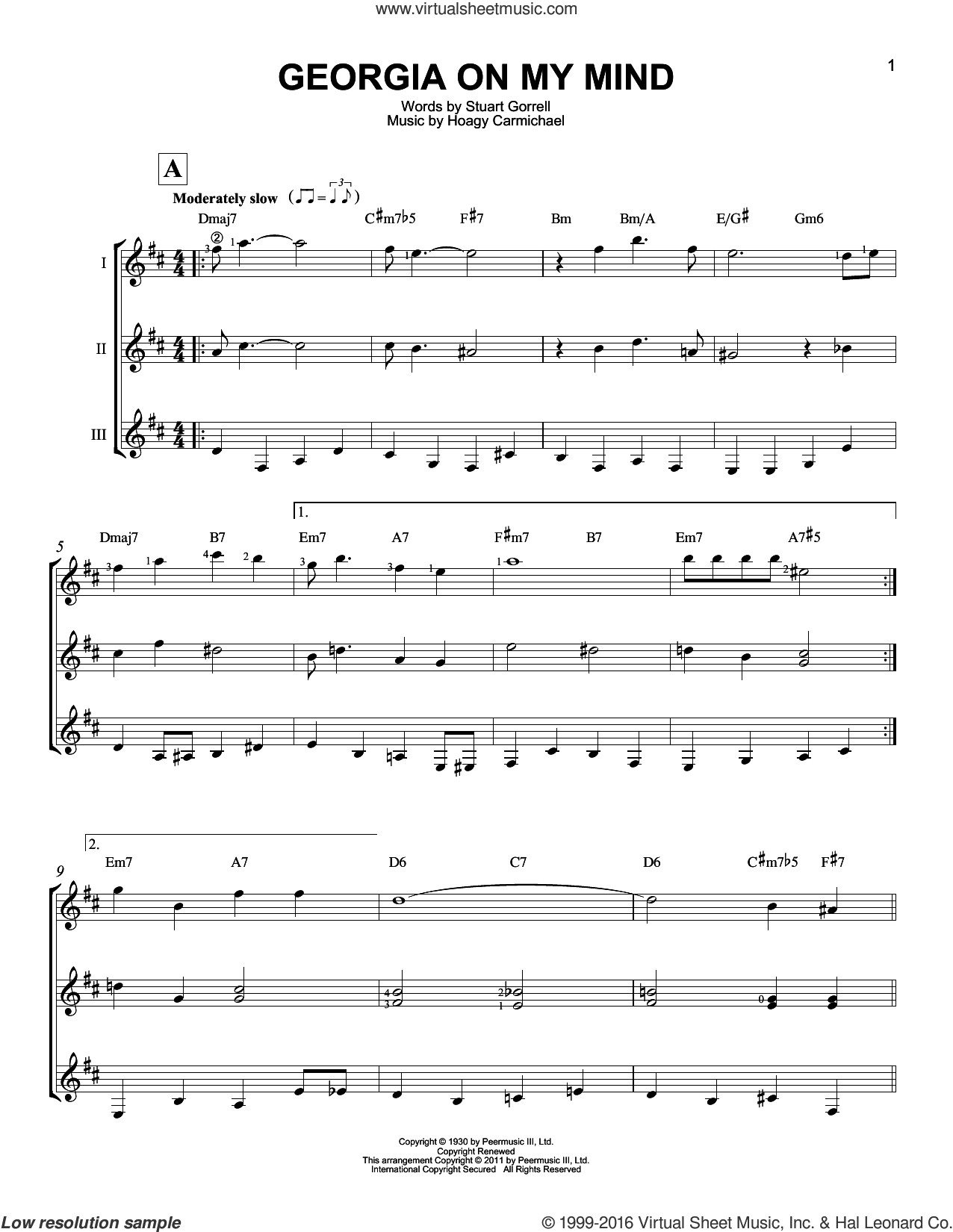 Georgia On My Mind sheet music for guitar ensemble by Stuart Gorrell, Ray Charles, Willie Nelson and Hoagy Carmichael. Score Image Preview.