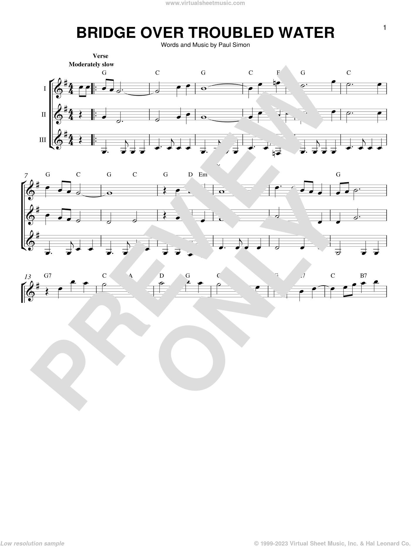 Bridge Over Troubled Water sheet music for guitar ensemble by Simon & Garfunkel, Lina Clifford and Paul Simon, intermediate skill level