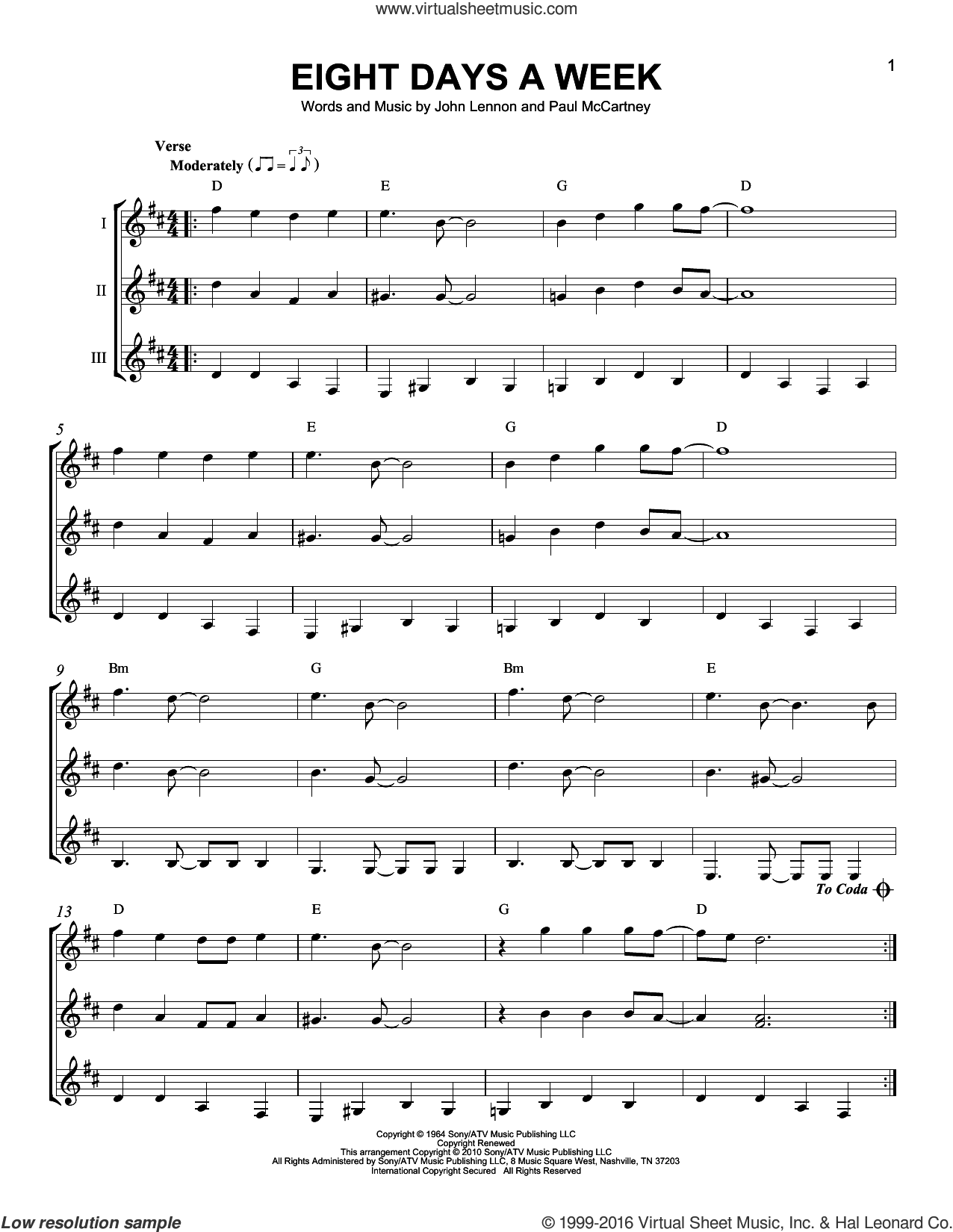 Eight Days A Week sheet music for guitar ensemble by Paul McCartney, The Beatles and John Lennon. Score Image Preview.