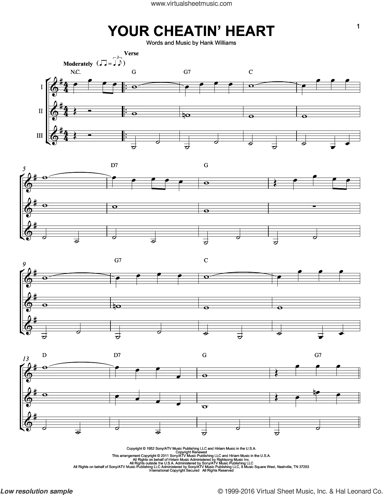 Your Cheatin' Heart sheet music for guitar ensemble by Hank Williams and Patsy Cline. Score Image Preview.